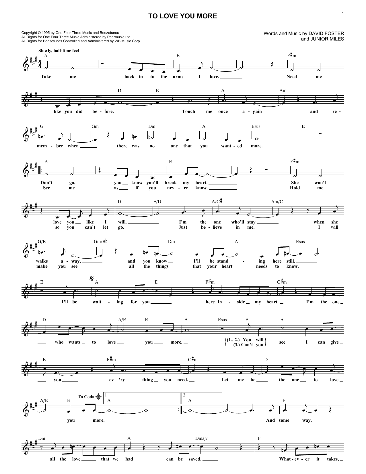 To Love You More (Lead Sheet / Fake Book)
