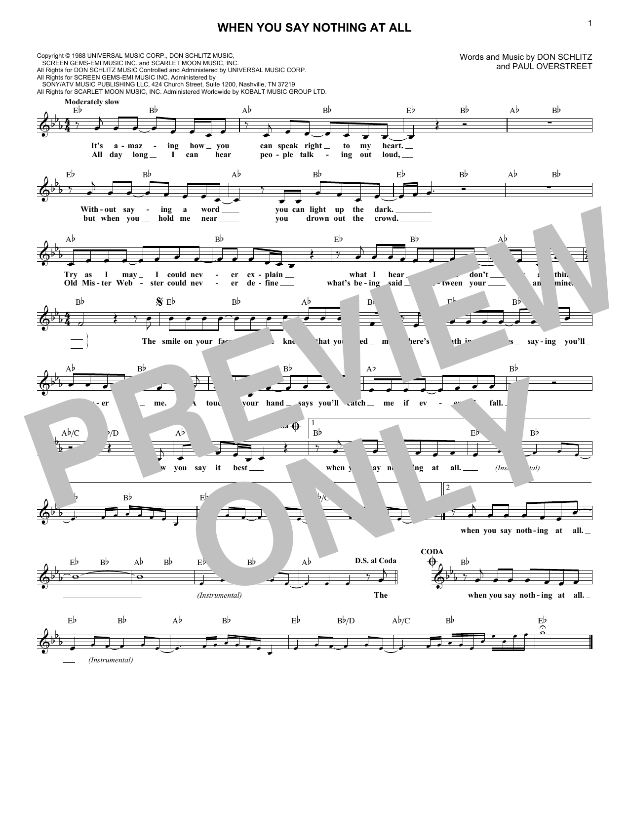 When You Say Nothing At All (Lead Sheet / Fake Book)