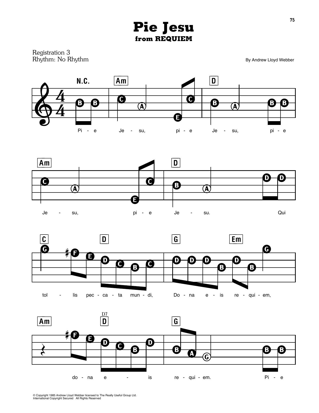 Pie Jesu (from Requiem) (E-Z Play Today)