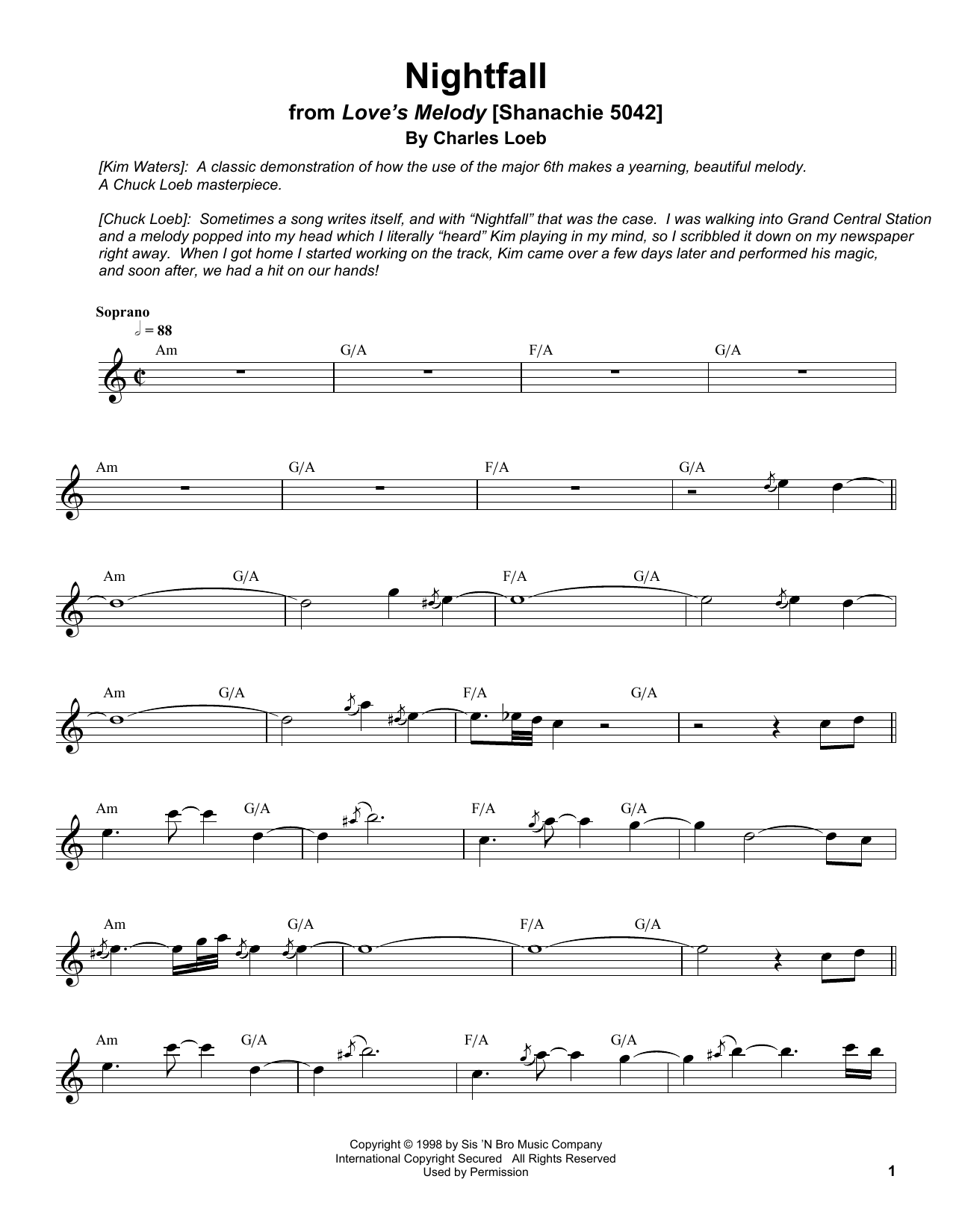 Nightfall Sheet Music