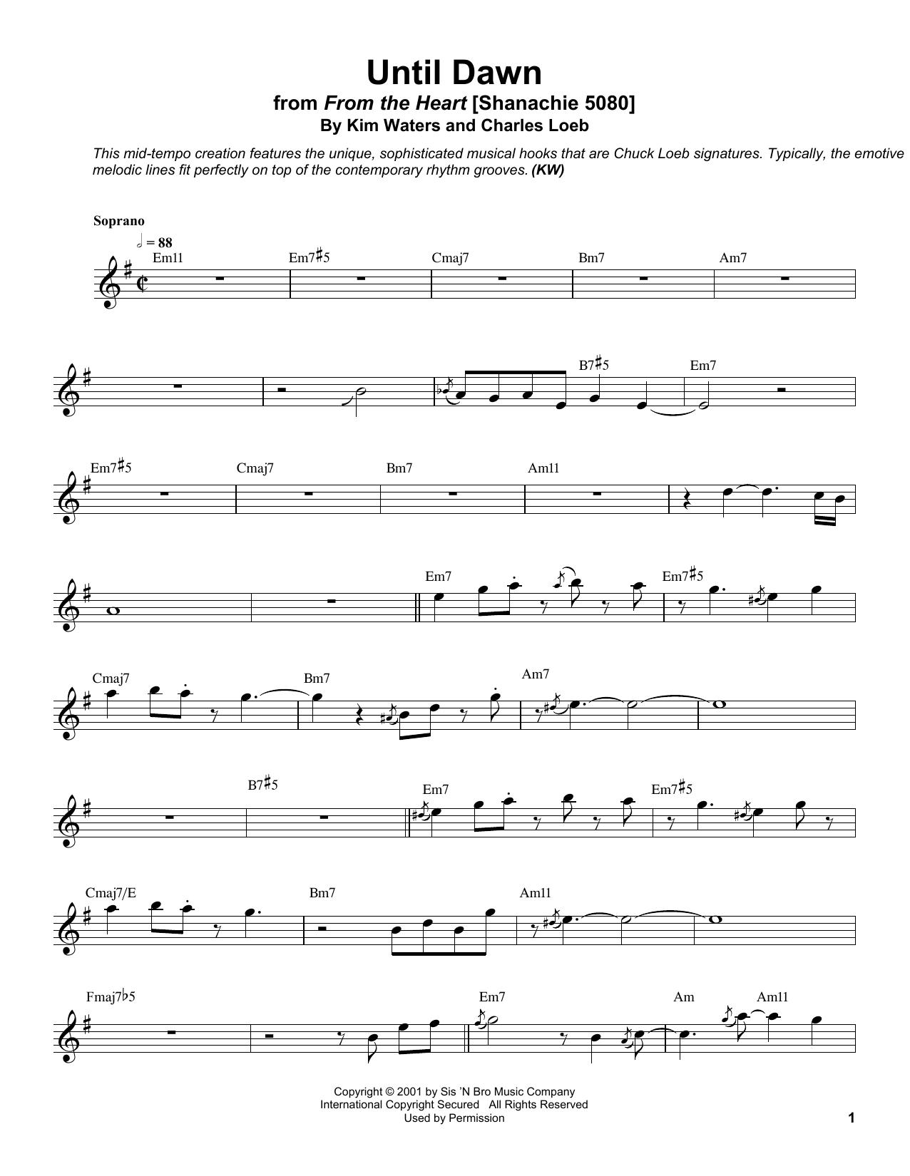 Until Dawn Sheet Music