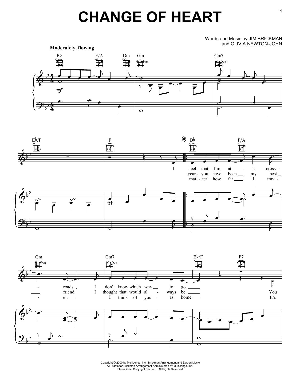 Change Of Heart (feat. Olivia Newton-John) (Piano, Vocal & Guitar (Right-Hand Melody))