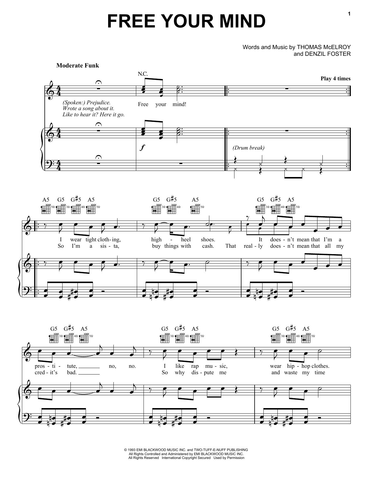 Free Your Mind (Piano, Vocal & Guitar (Right-Hand Melody))