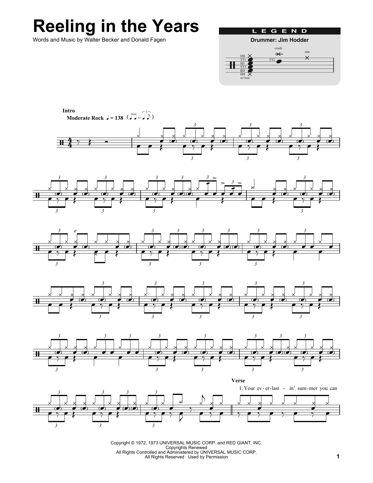 Reeling In The Years (Drums Transcription)
