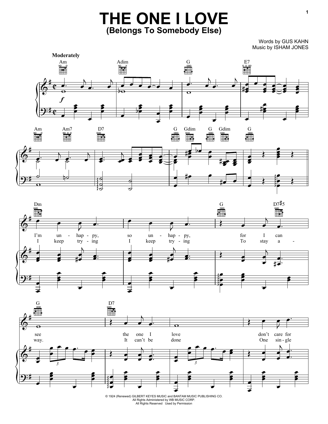 The One I Love (Belongs To Somebody Else) (Piano, Vocal & Guitar (Right-Hand Melody))