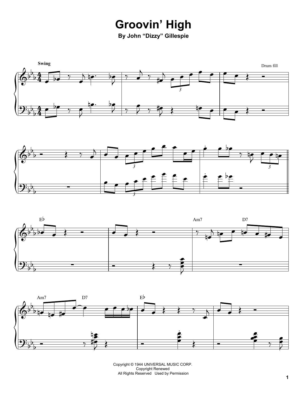 Groovin' High Sheet Music