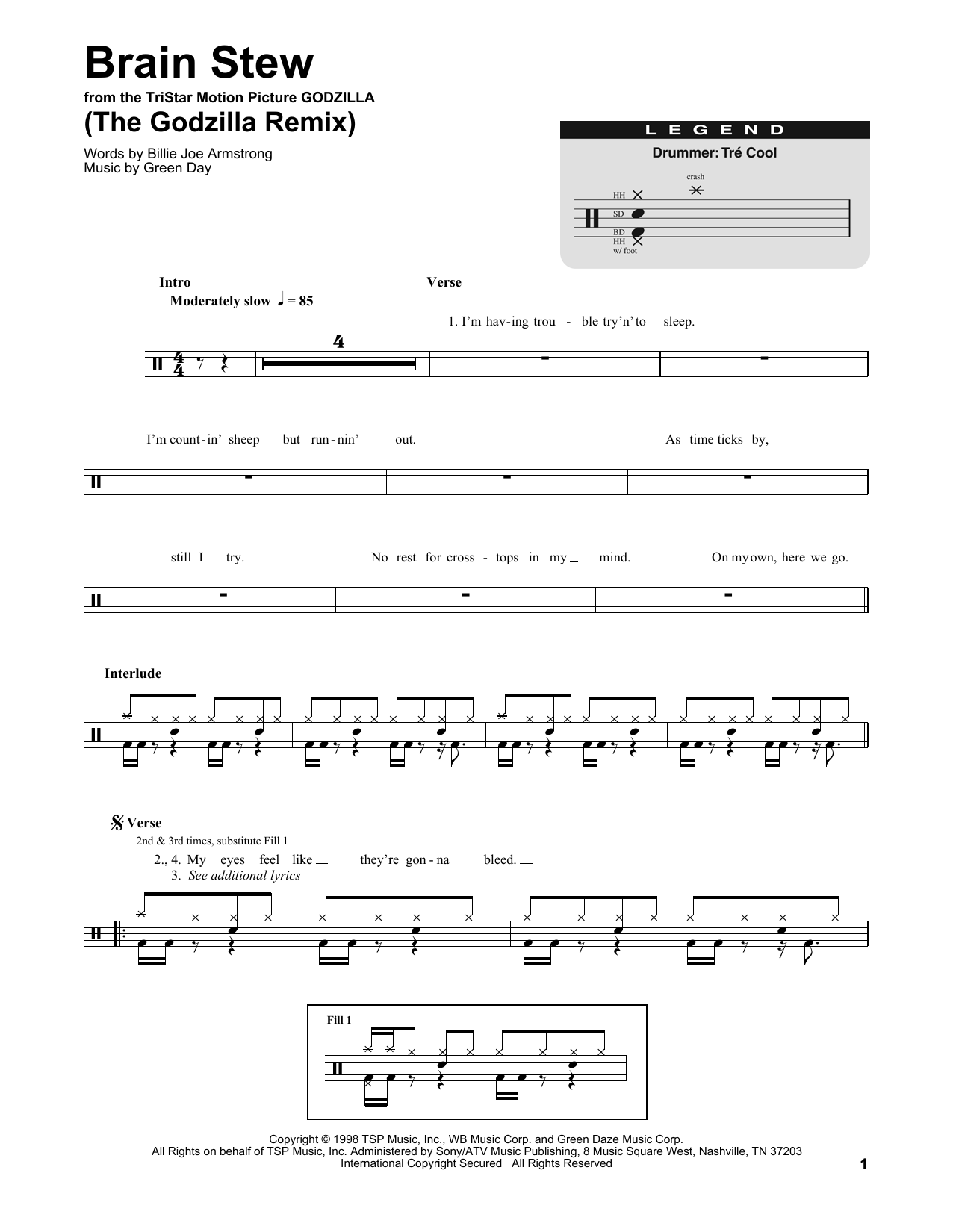 Brain Stew (The Godzilla Remix) Sheet Music