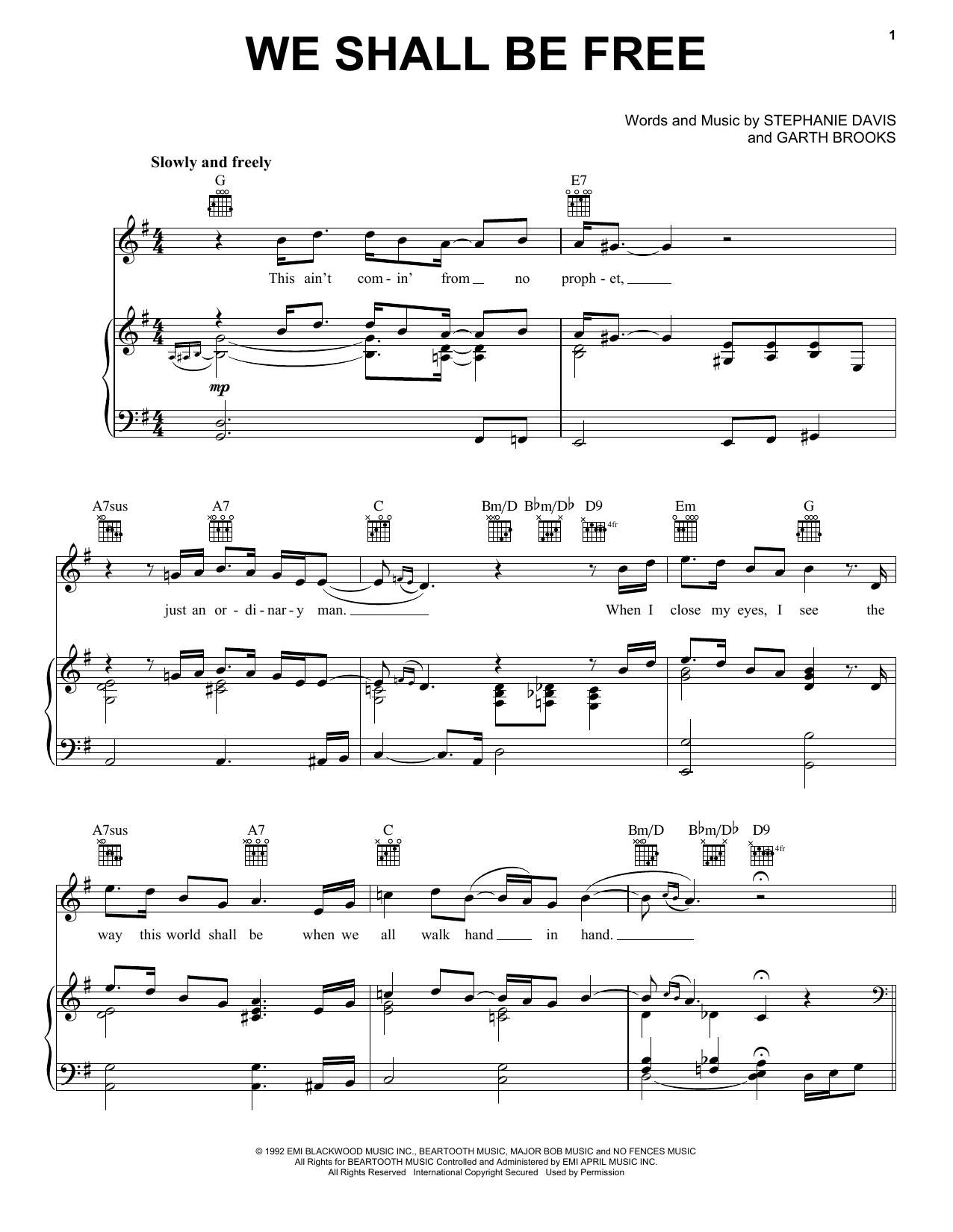We Shall Be Free (Piano, Vocal & Guitar (Right-Hand Melody))