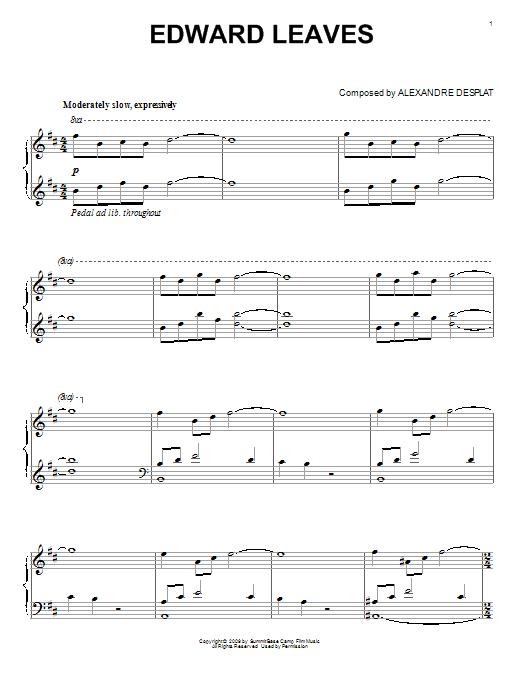 Partition piano Edward Leaves de Alexandre Desplat - Piano Solo