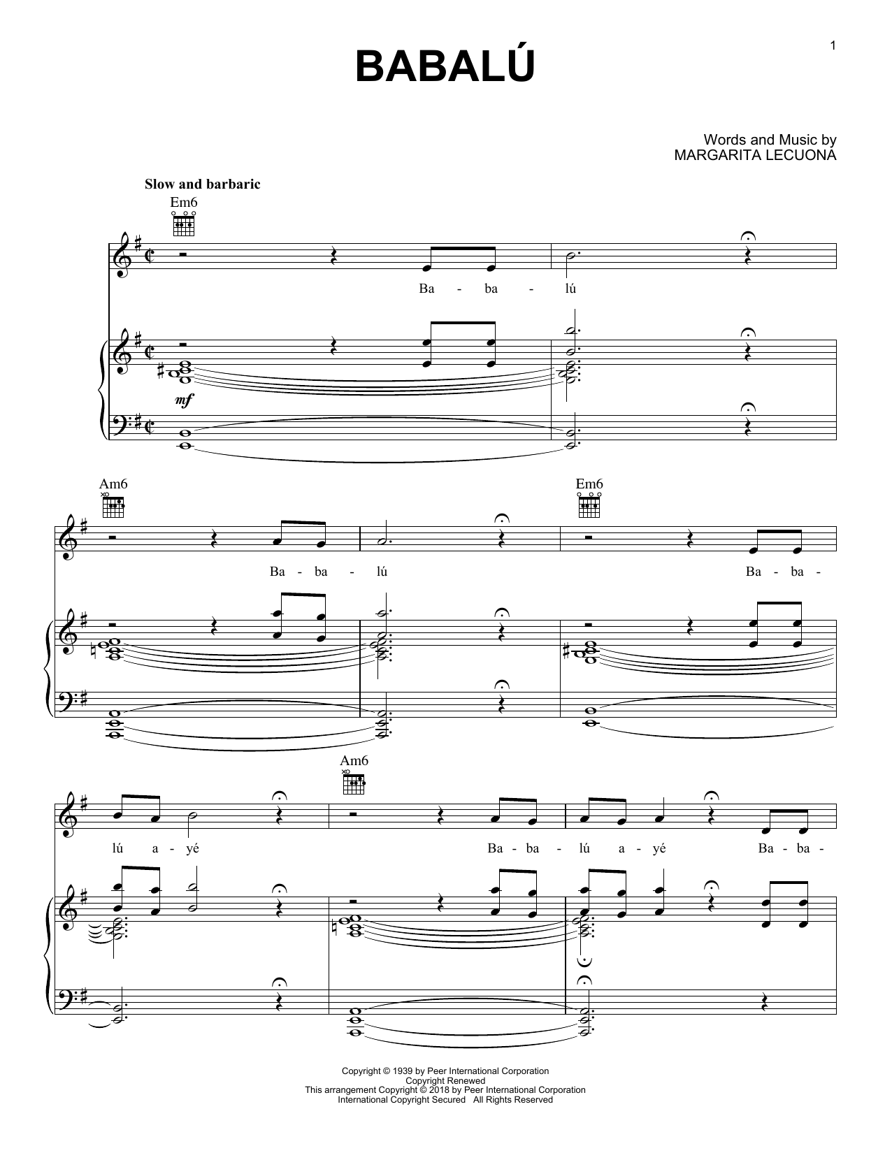 Babalu (Piano, Vocal & Guitar (Right-Hand Melody))