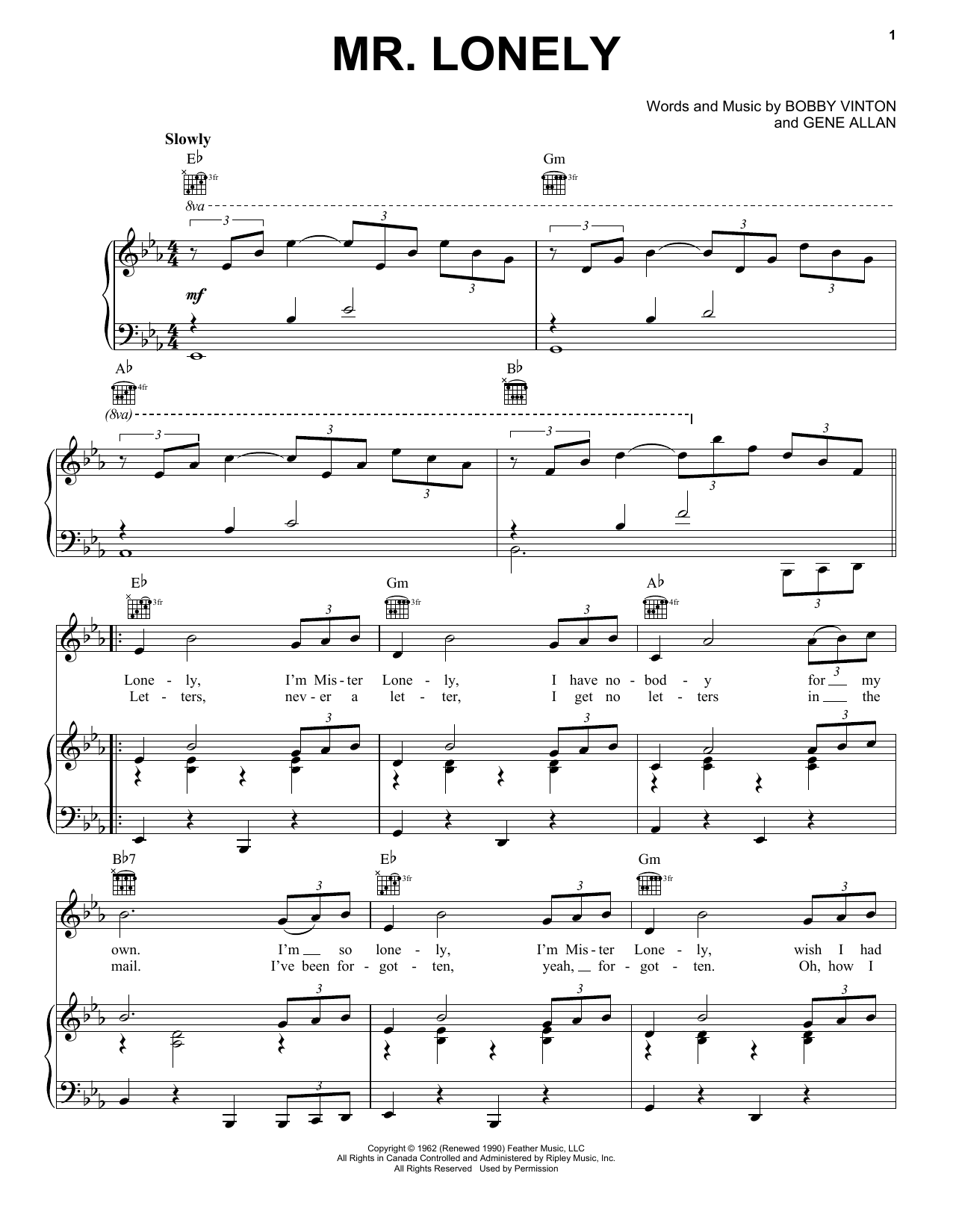 Mr. Lonely (Piano, Vocal & Guitar (Right-Hand Melody))