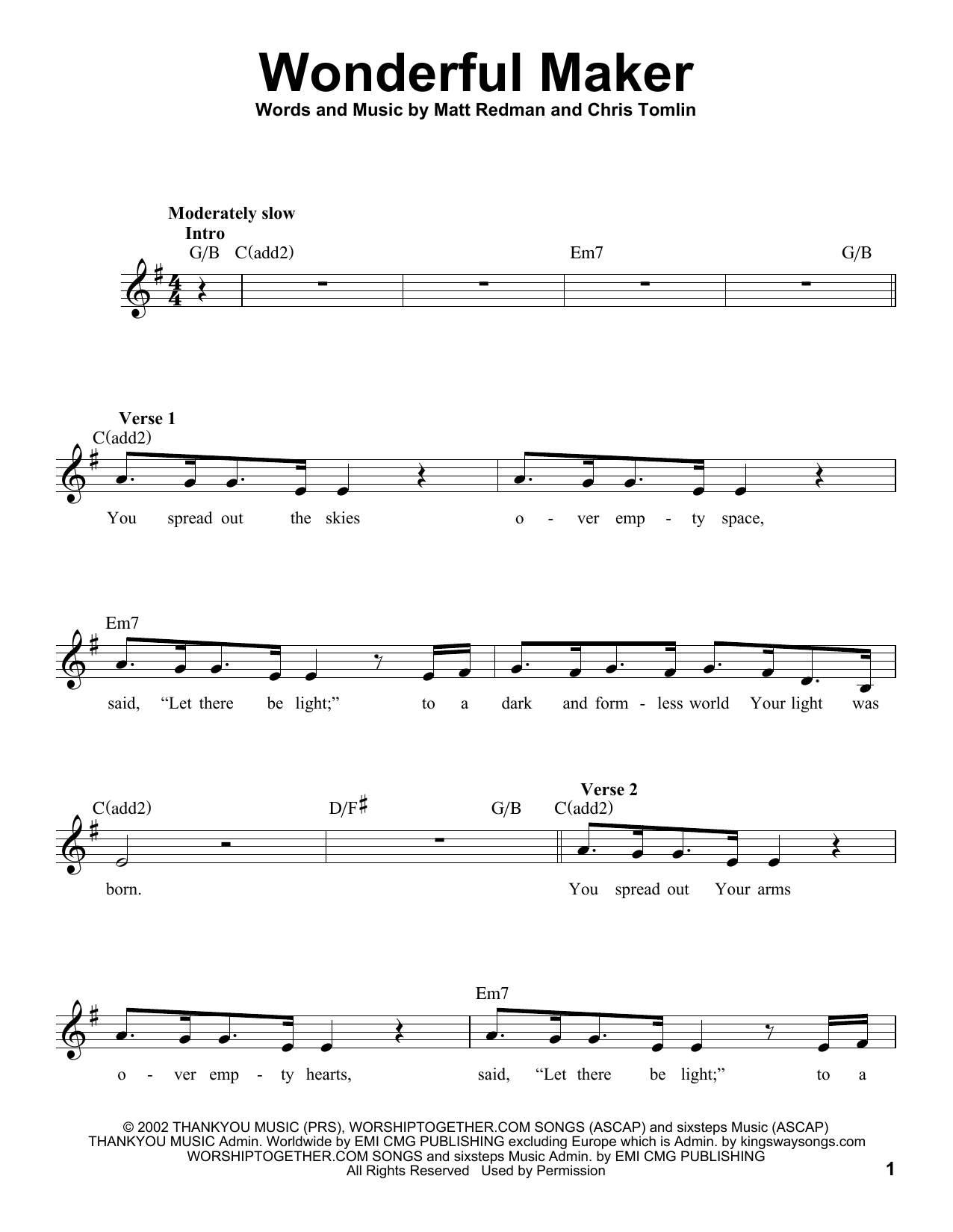 Wonderful Maker Sheet Music