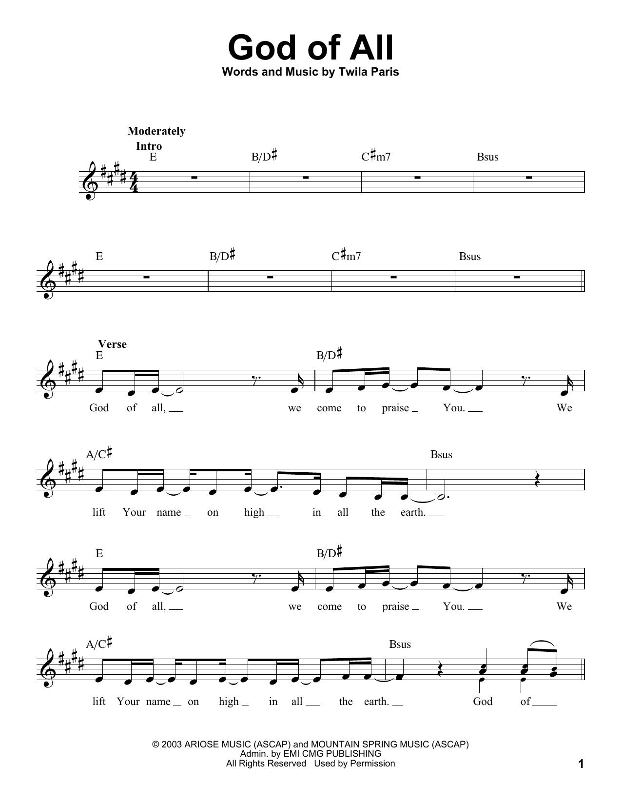 God Of All Sheet Music
