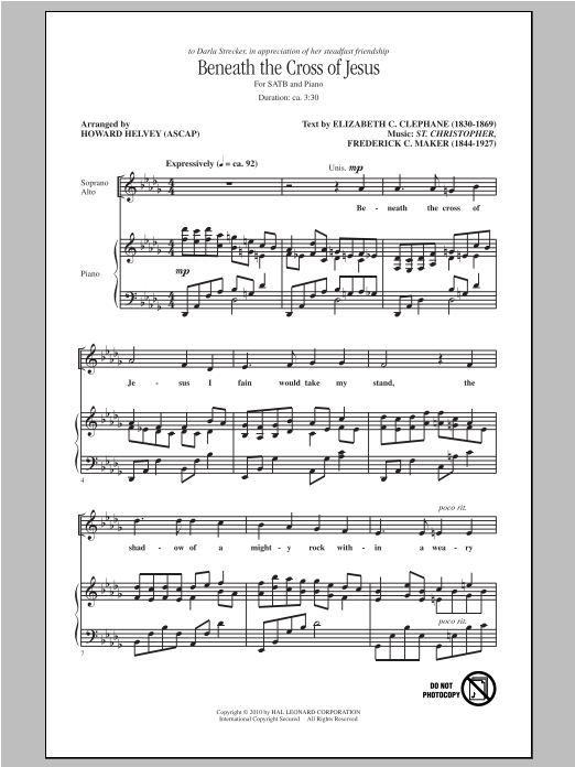 Beneath The Cross Of Jesus (arr. Howard Helvey) (SATB Choir)