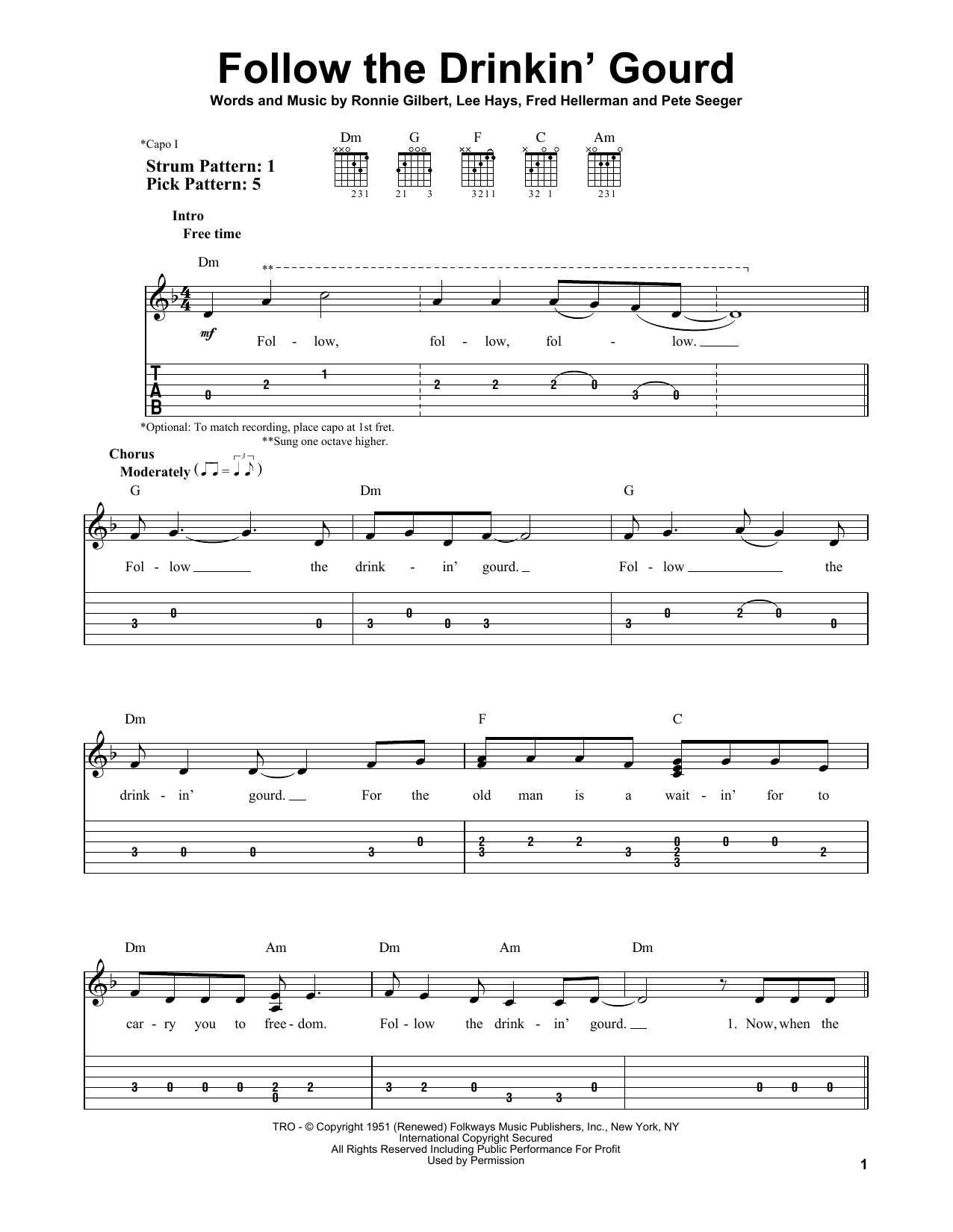 Follow The Drinkin' Gourd (Easy Guitar Tab)