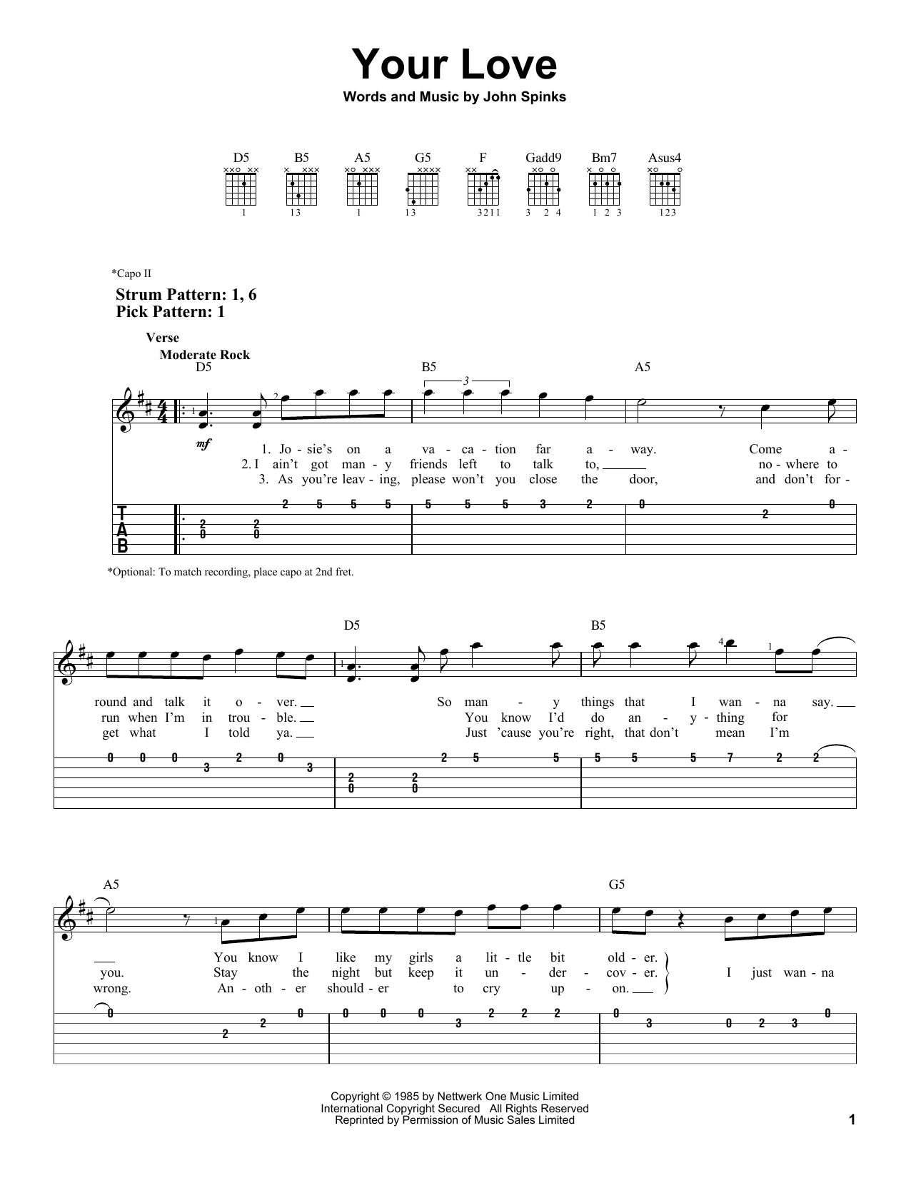 Your Love (Easy Guitar Tab)