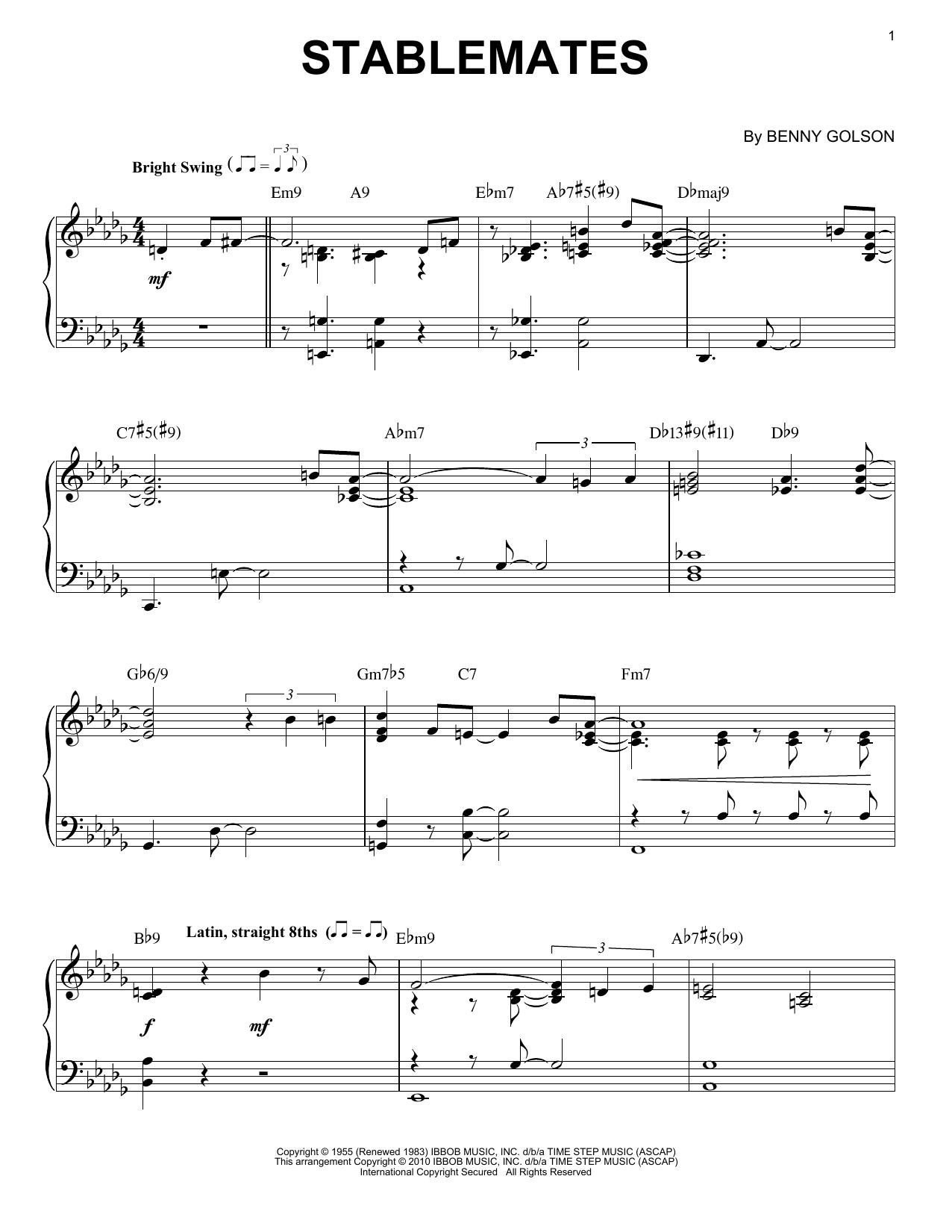 Stablemates (arr. Brent Edstrom) Sheet Music