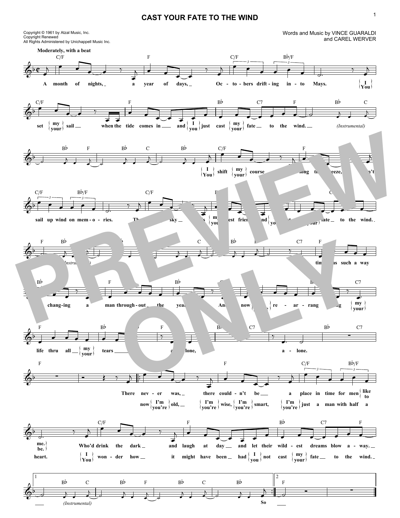 Cast Your Fate To The Wind (Lead Sheet / Fake Book)