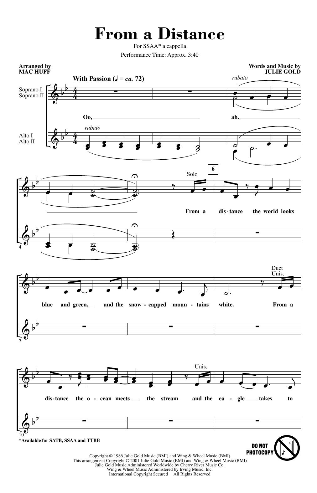 From A Distance (arr. Mac Huff) (SSA Choir)