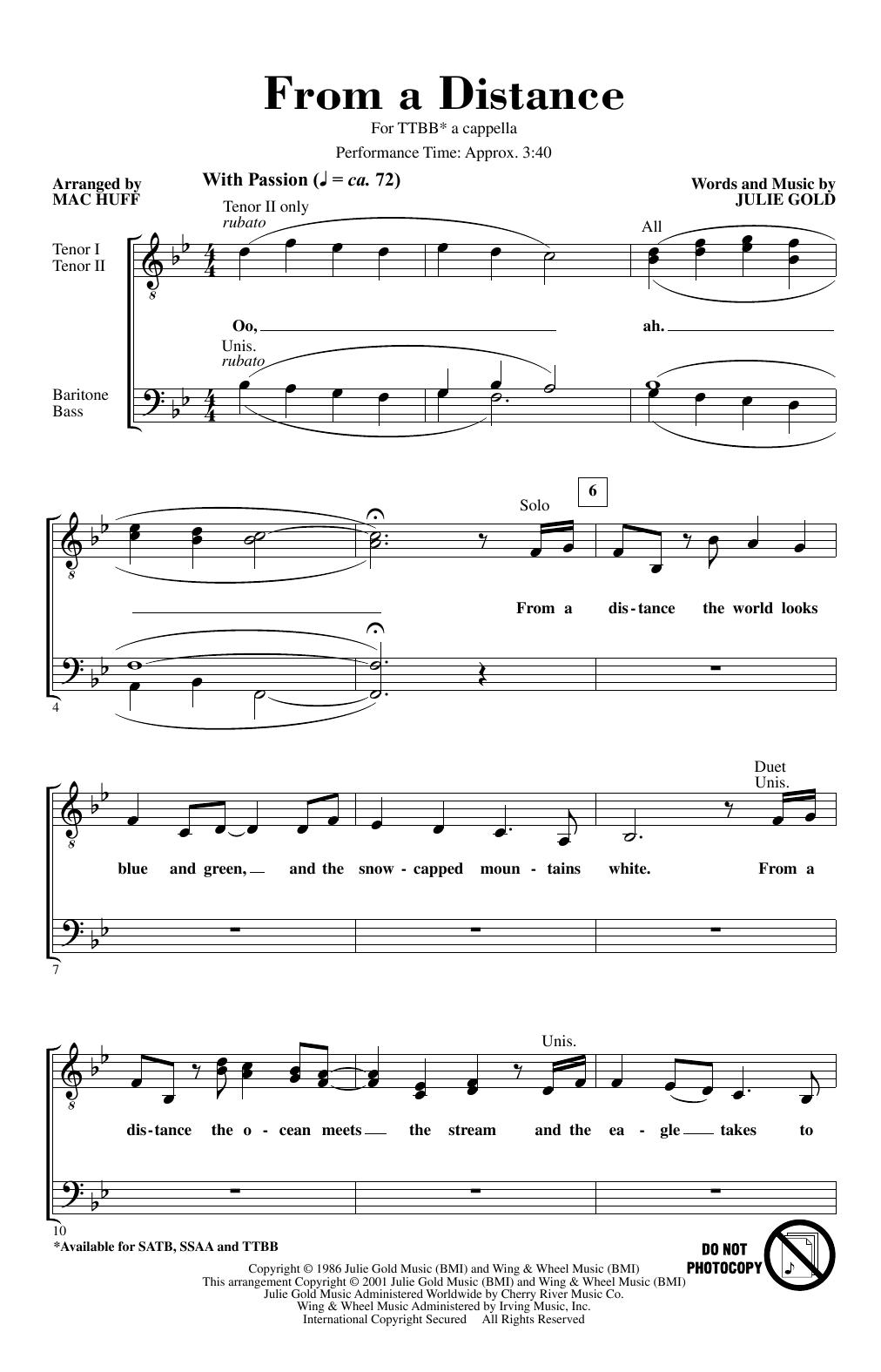 From A Distance (arr. Mac Huff) (TTBB Choir)