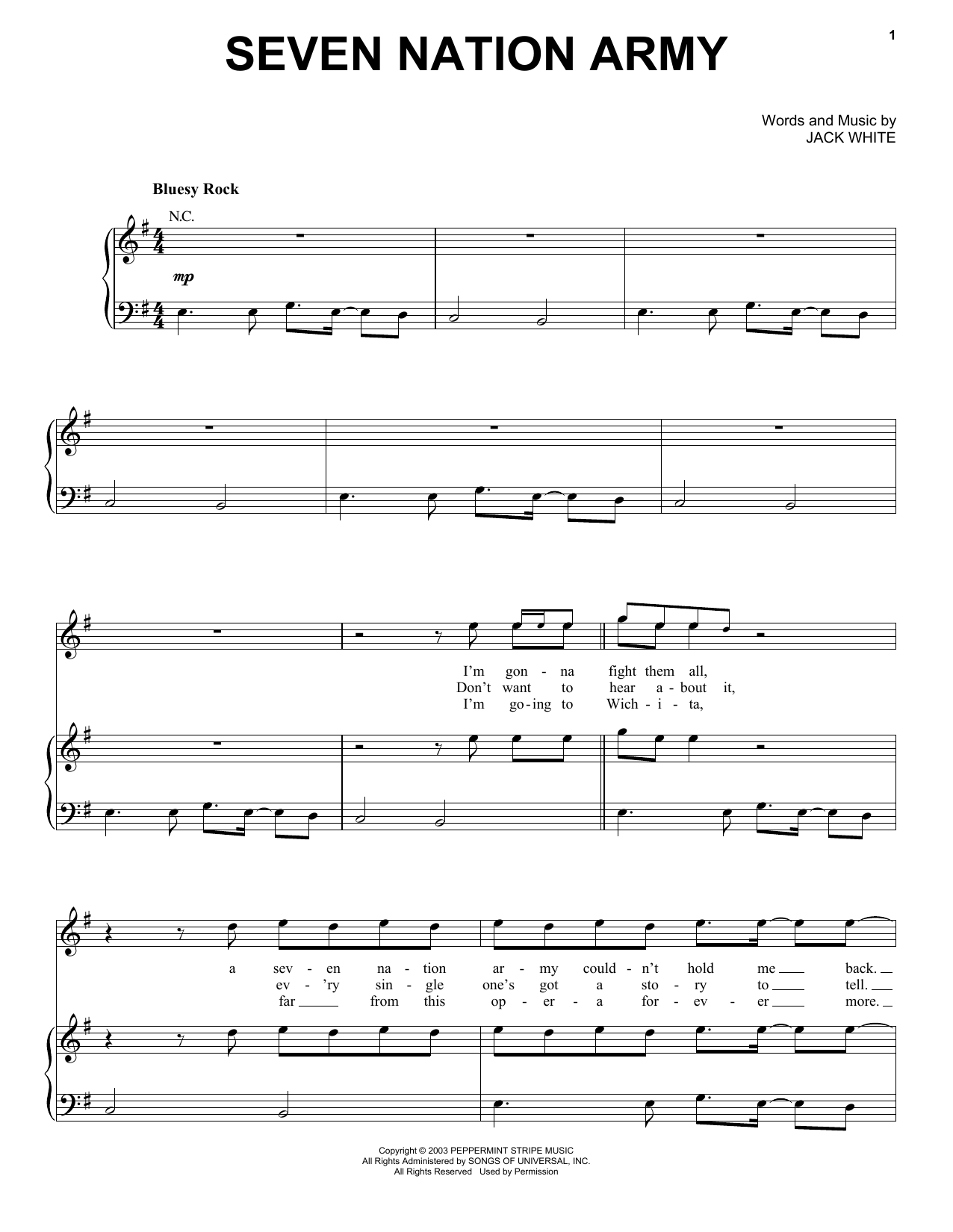 Seven Nation Army (Piano, Vocal & Guitar (Right-Hand Melody))