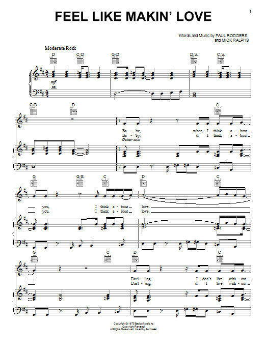 Feel Like Makin' Love (Piano, Vocal & Guitar (Right-Hand Melody))