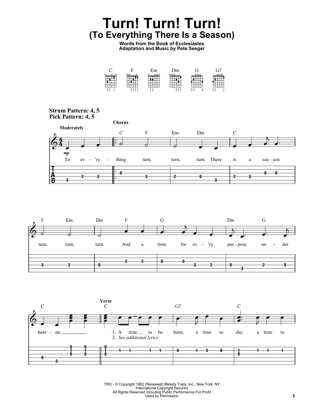 Turn! Turn! Turn! (To Everything There Is A Season) (Easy Guitar Tab)