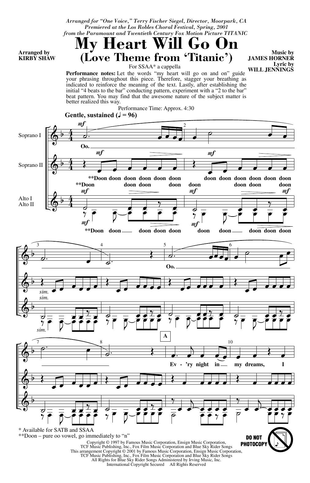My Heart Will Go On (Love Theme From Titanic) (arr. Kirby Shaw) (SSA Choir)