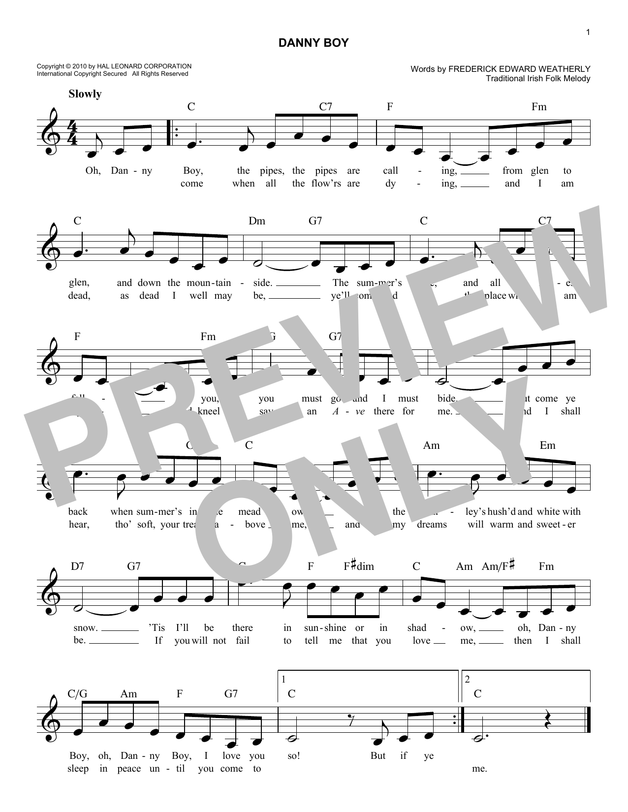 Danny Boy Sheet Music Traditional Irish Melody Line Lyrics Chords
