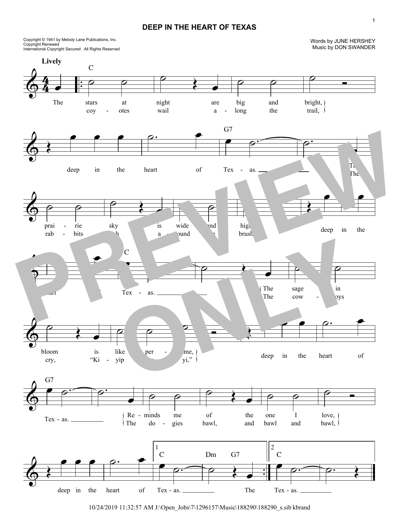 Deep In The Heart Of Texas (Lead Sheet / Fake Book)