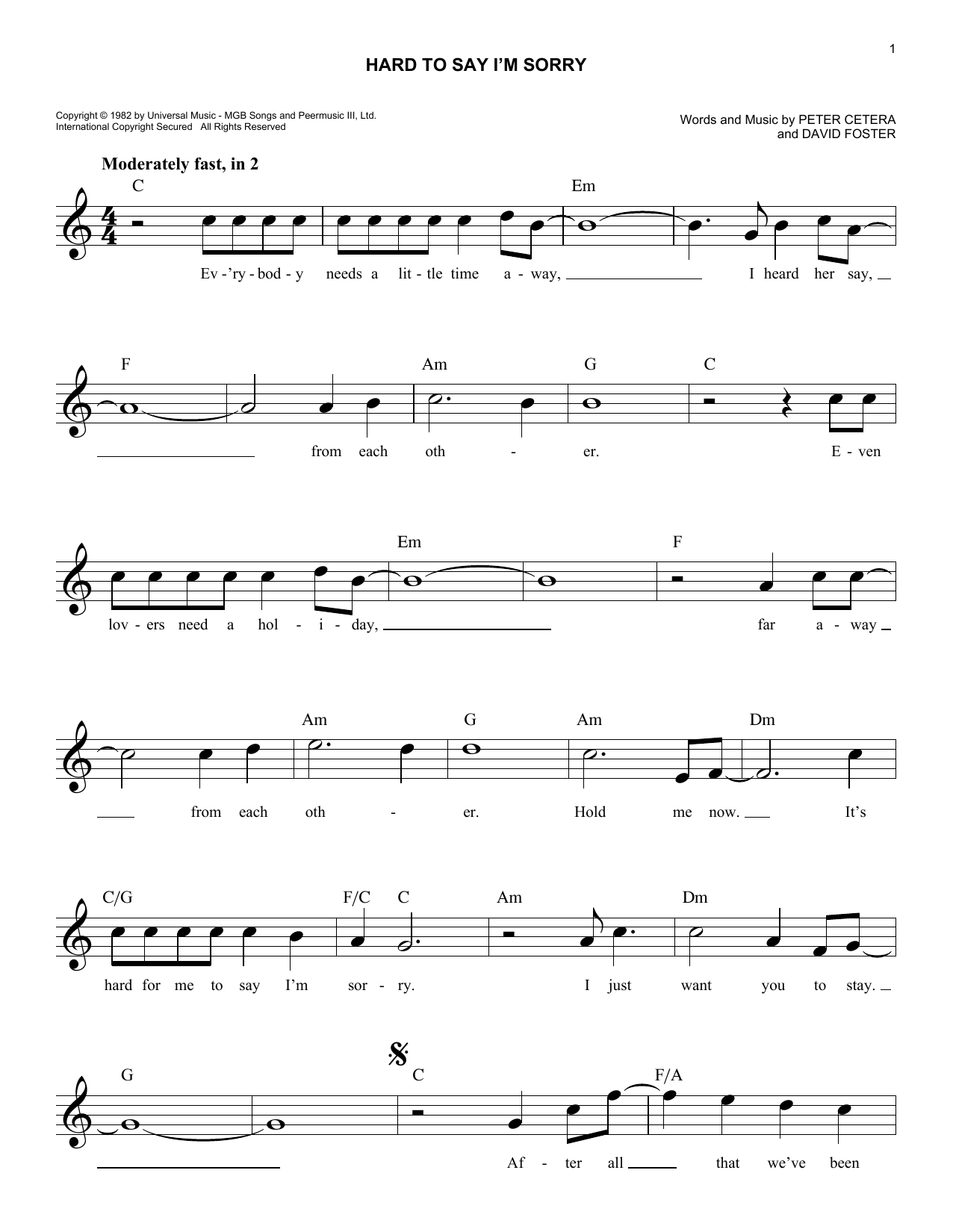 Hard To Say I'm Sorry Sheet Music