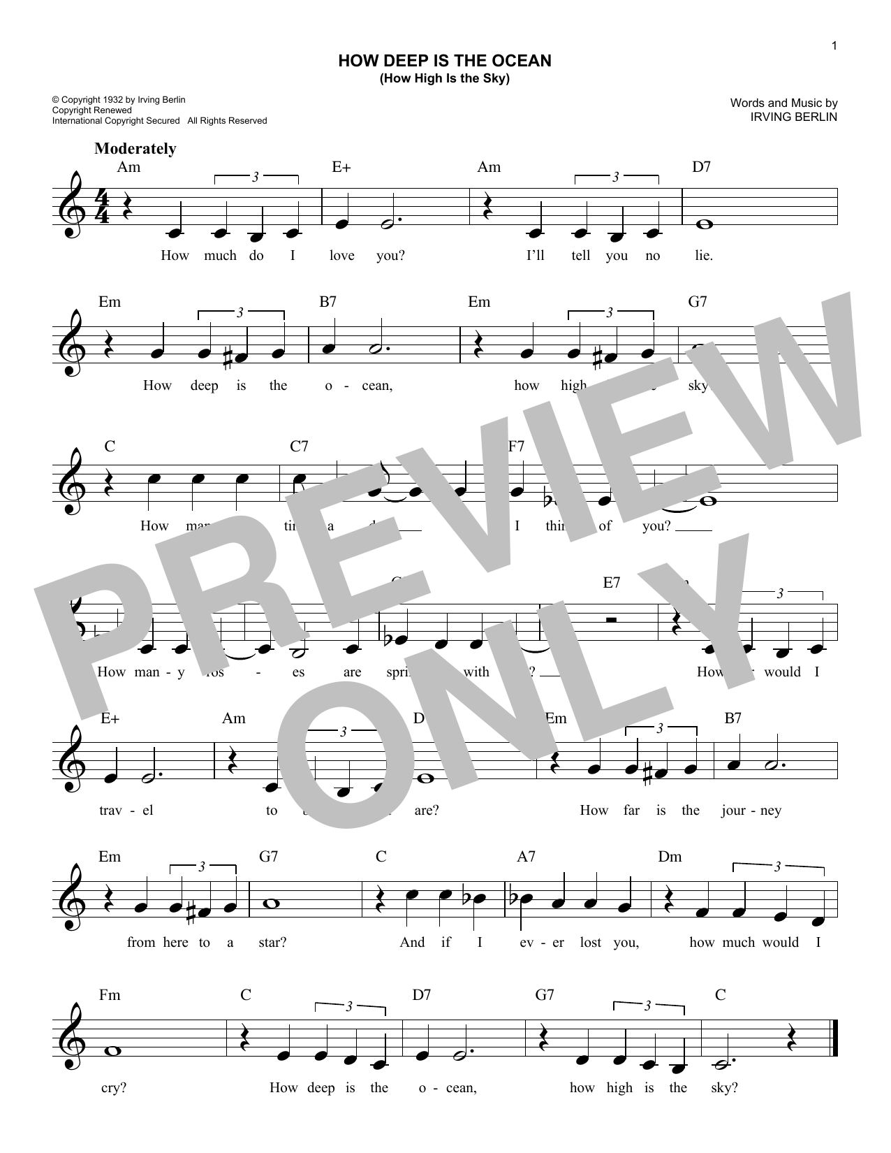 How Deep Is The Ocean (How High Is The Sky) Sheet Music