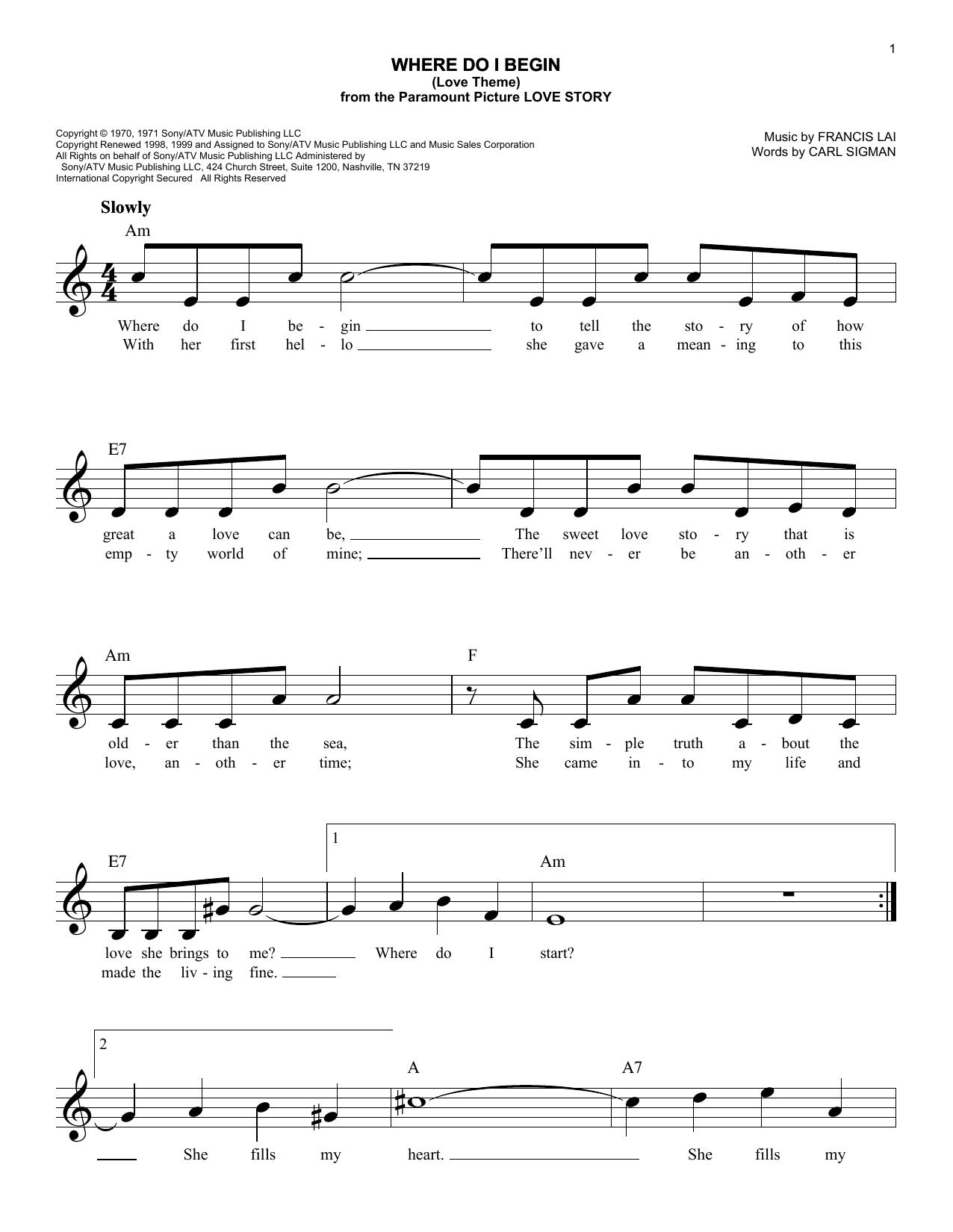 Where Do I Begin (Love Theme) (from Love Story) (Lead Sheet / Fake Book)