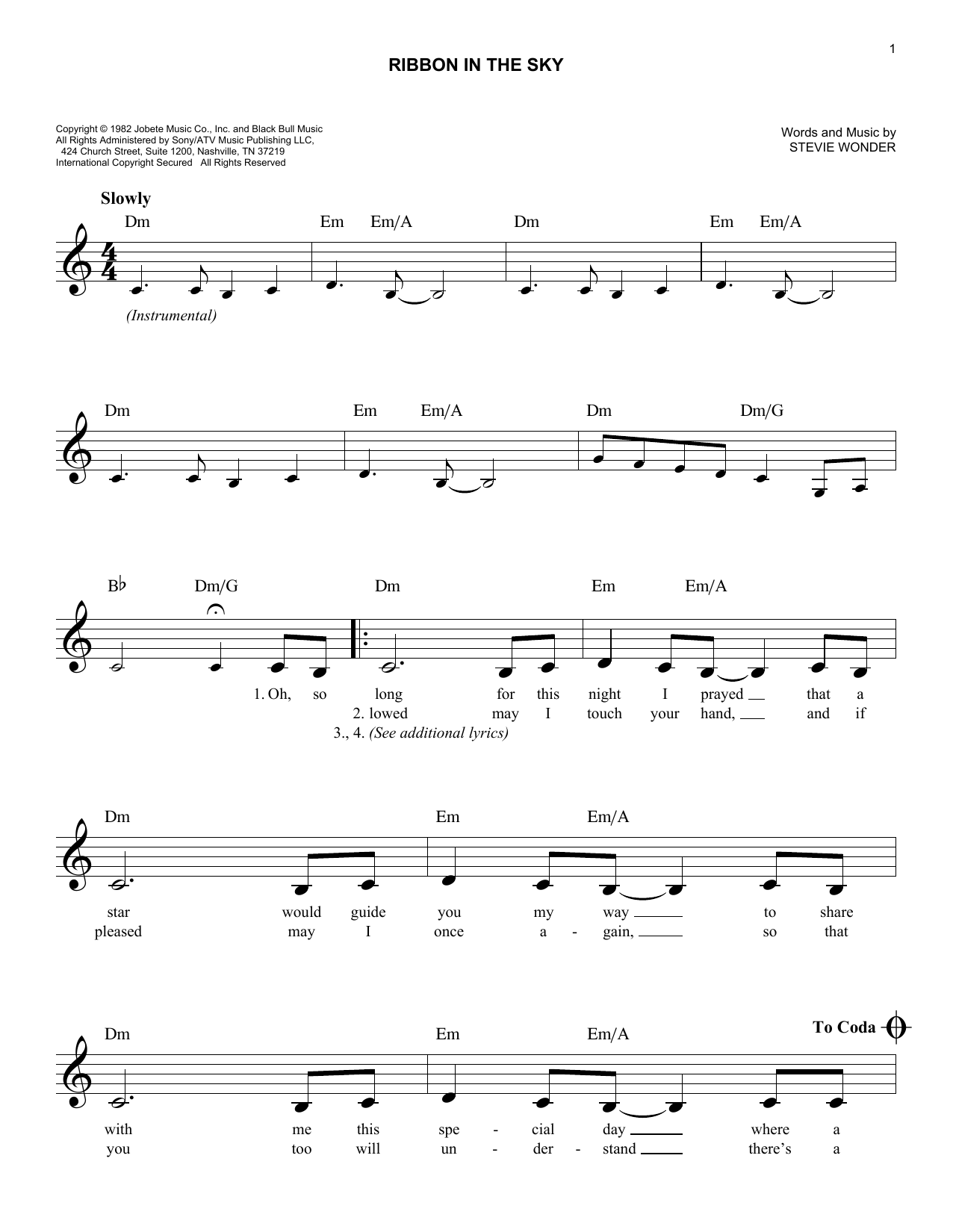 Ribbon In The Sky (Lead Sheet / Fake Book)