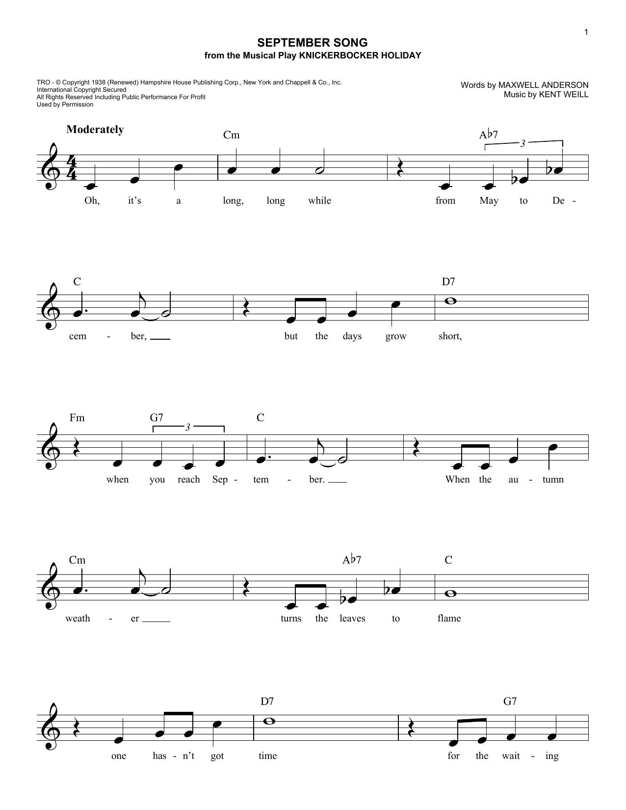 September Song (Lead Sheet / Fake Book)