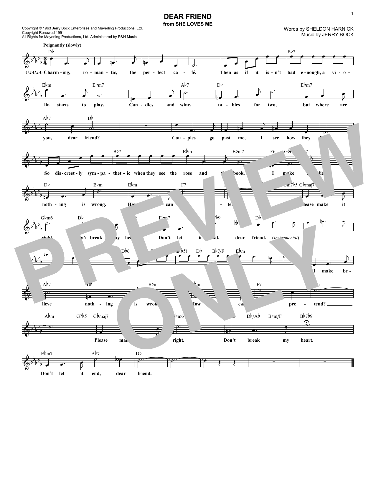 Dear Friend (Lead Sheet / Fake Book)
