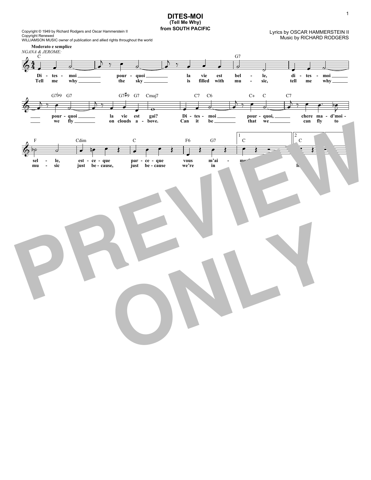 Dites moi tell me why chords by rodgers hammerstein melody dites moi tell me why sheet music hexwebz Images