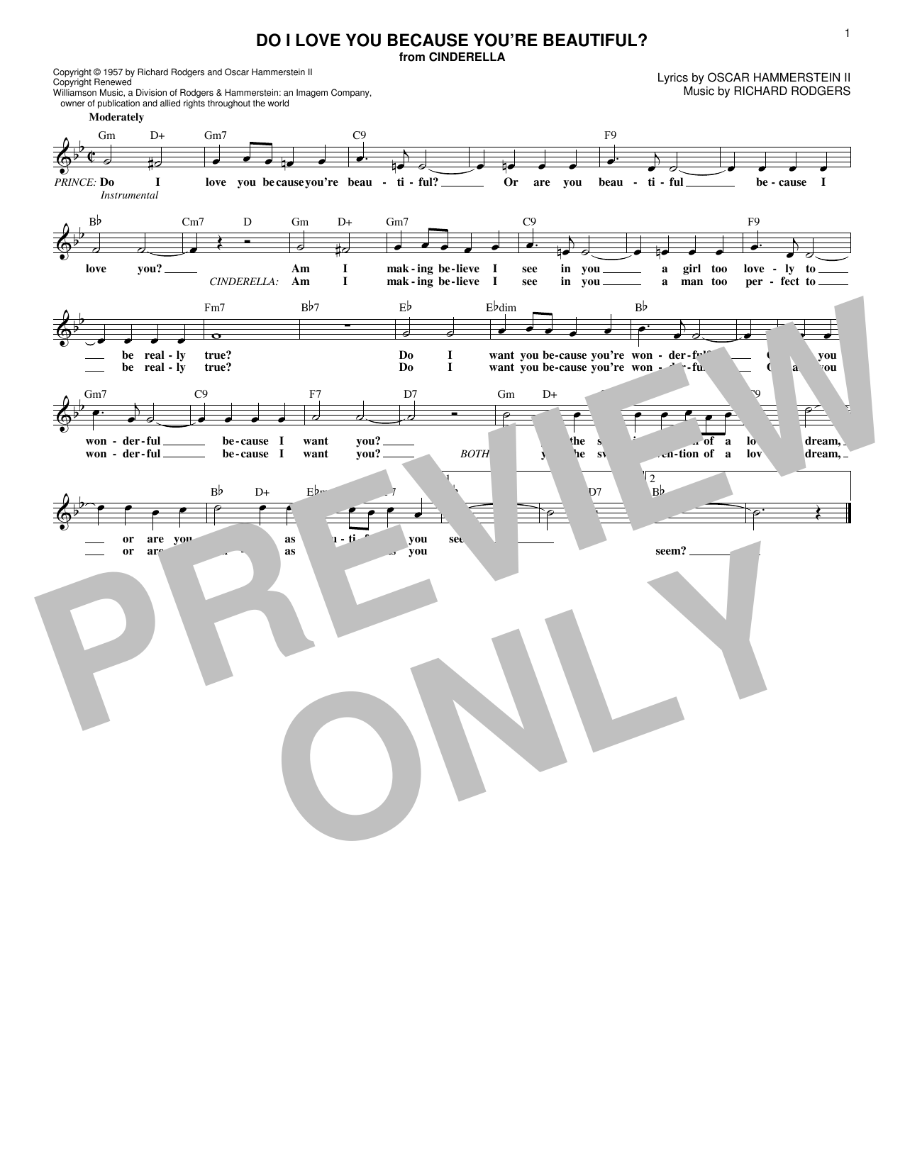 Do I Love You Because You're Beautiful? (Lead Sheet / Fake Book)