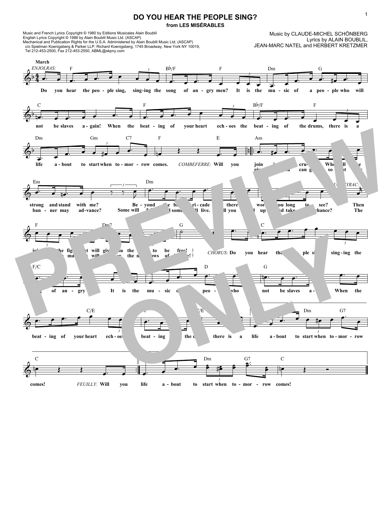 Do You Hear The People Sing? (Lead Sheet / Fake Book)