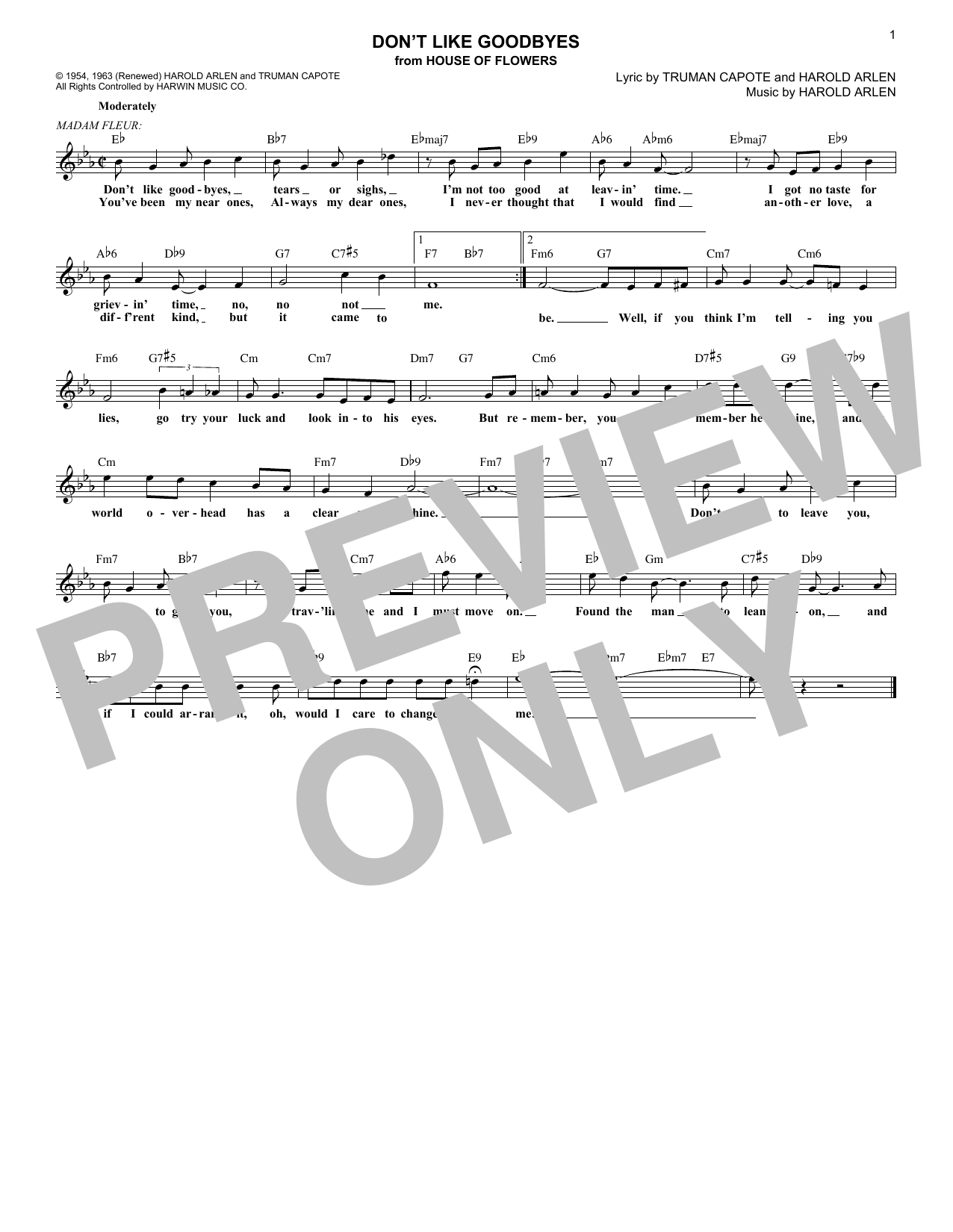 Don't Like Goodbyes (Lead Sheet / Fake Book)