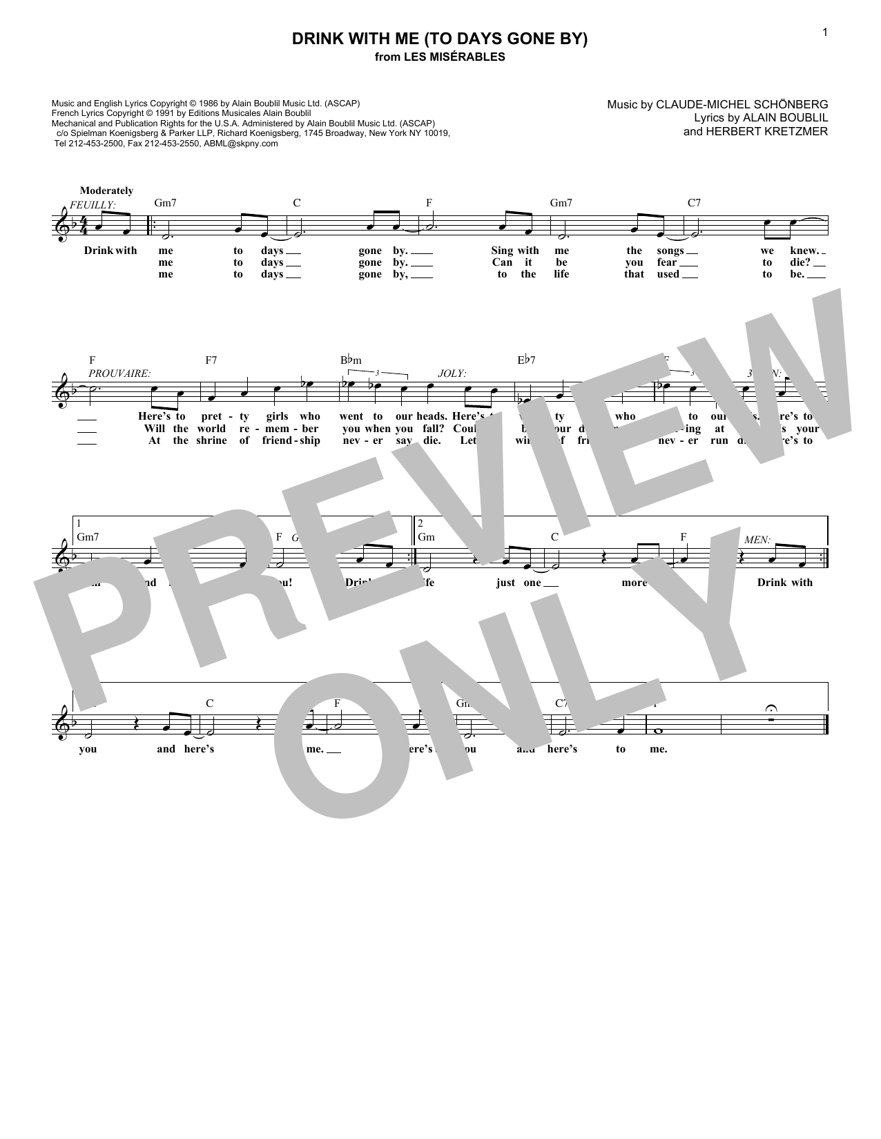 Drink With Me (To Days Gone By) (Lead Sheet / Fake Book)