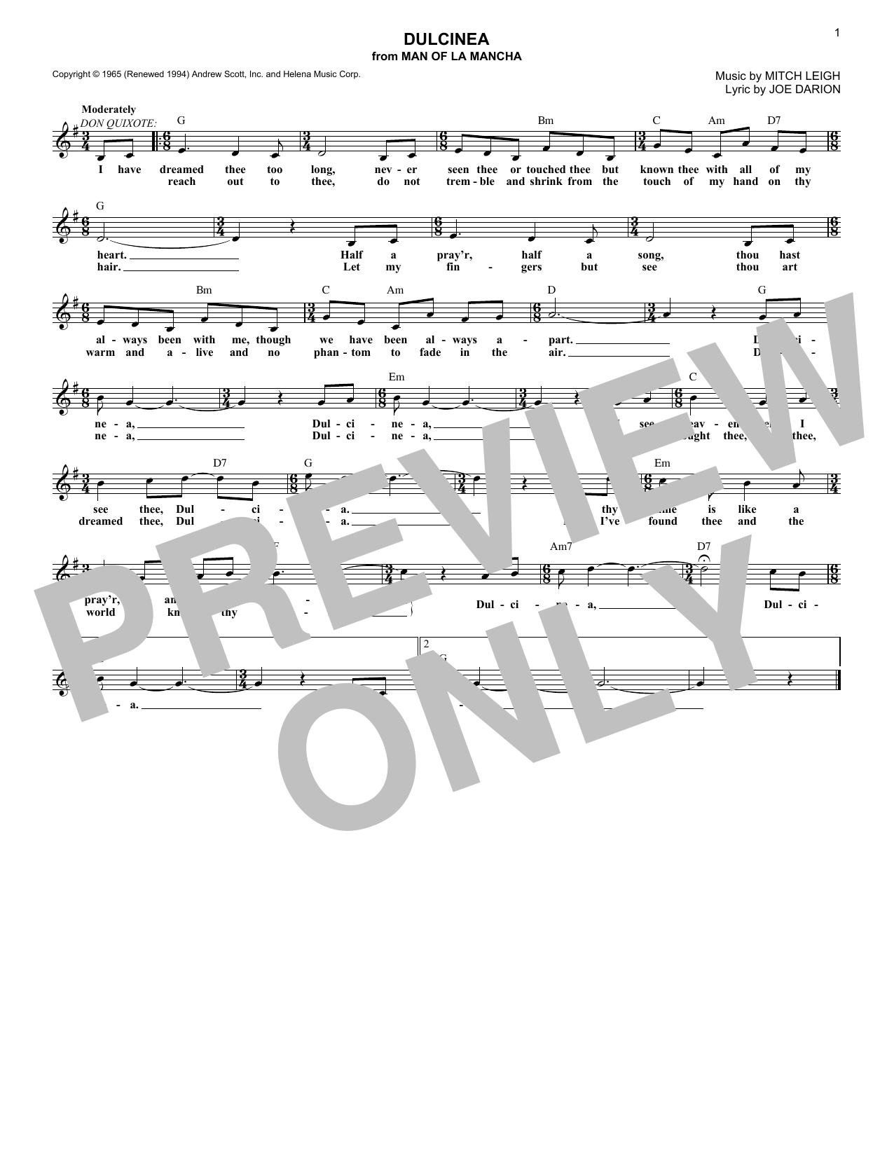 Dulcinea (Lead Sheet / Fake Book)