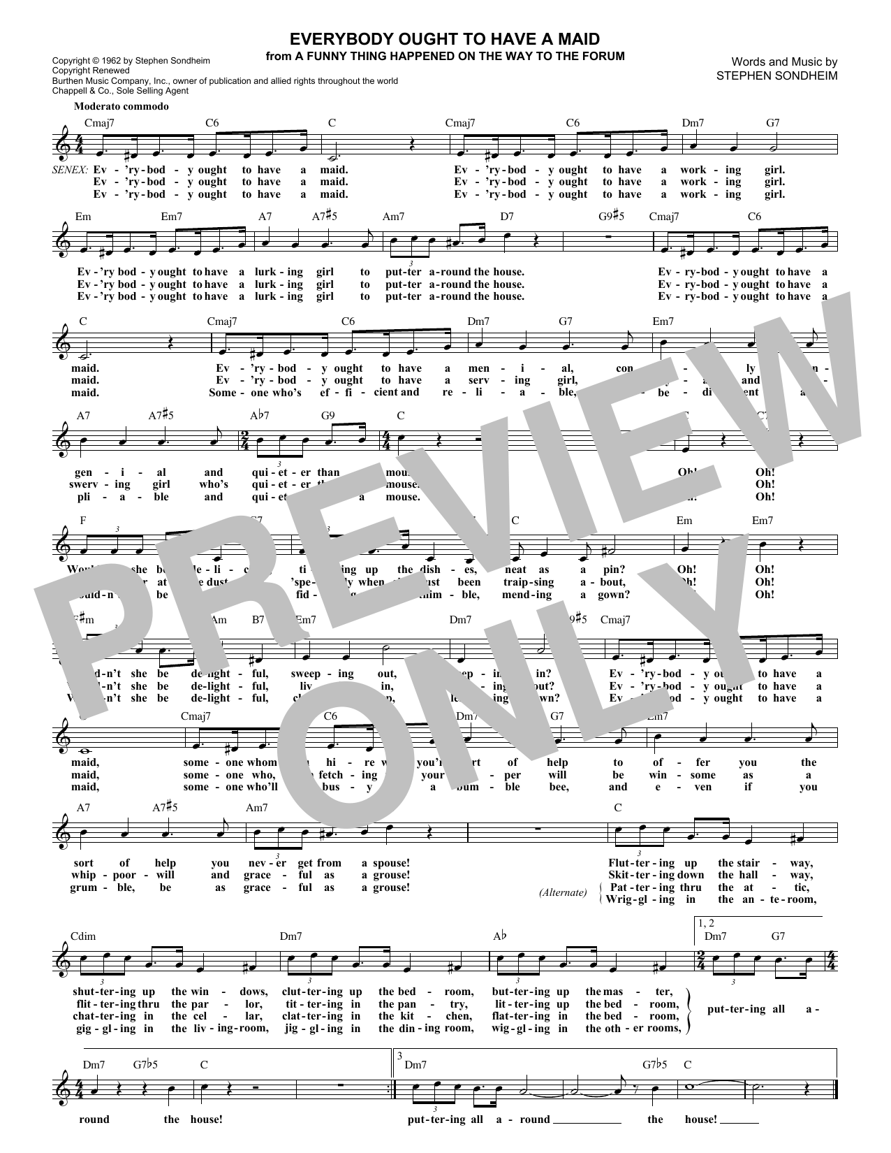 Everybody Ought To Have A Maid (Lead Sheet / Fake Book)