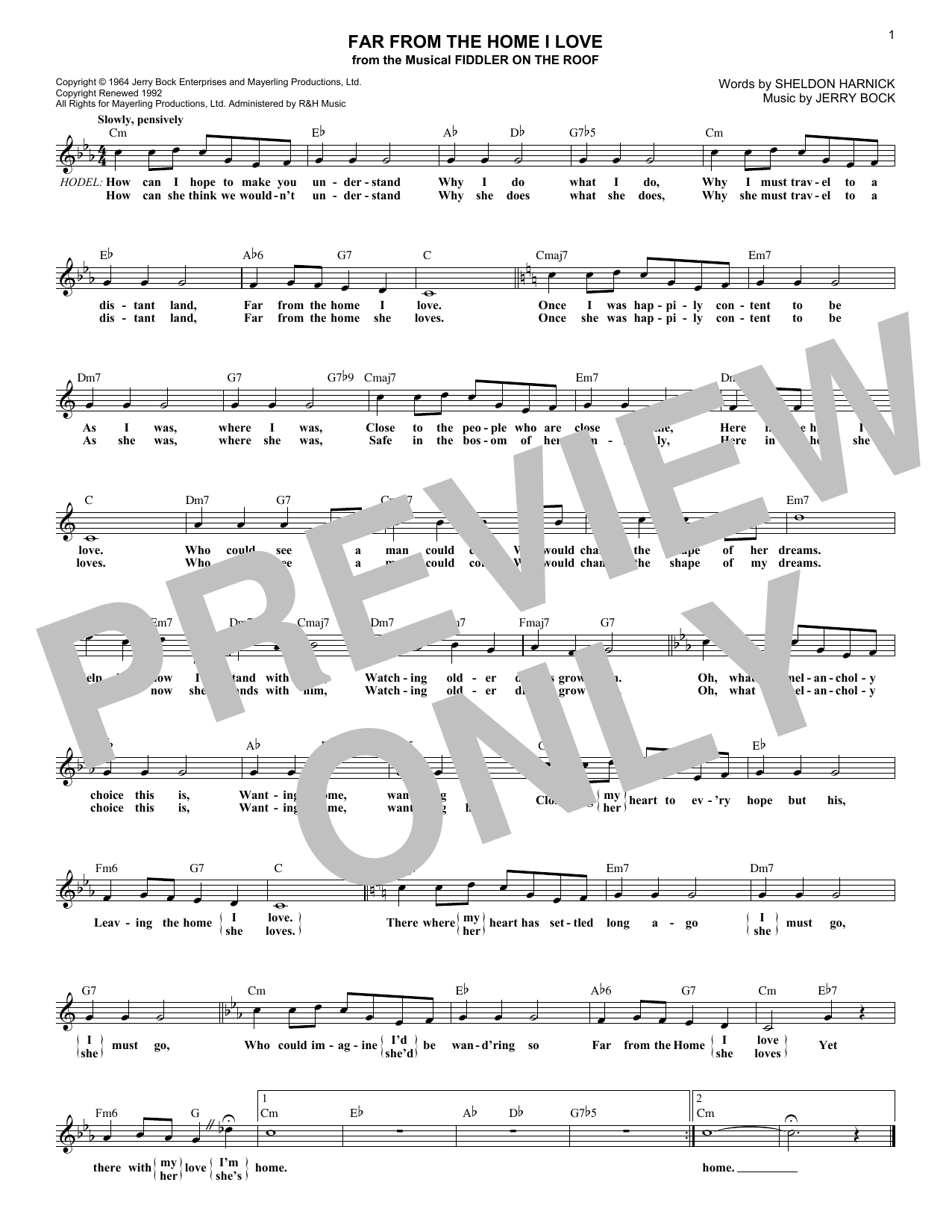 Far From The Home I Love (Lead Sheet / Fake Book)