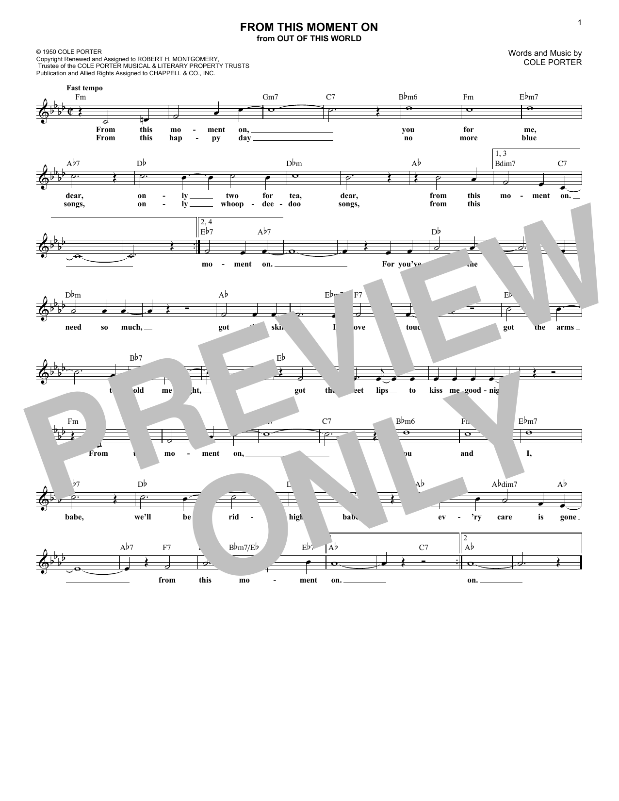 From This Moment On (from Kiss Me, Kate) (Lead Sheet / Fake Book)