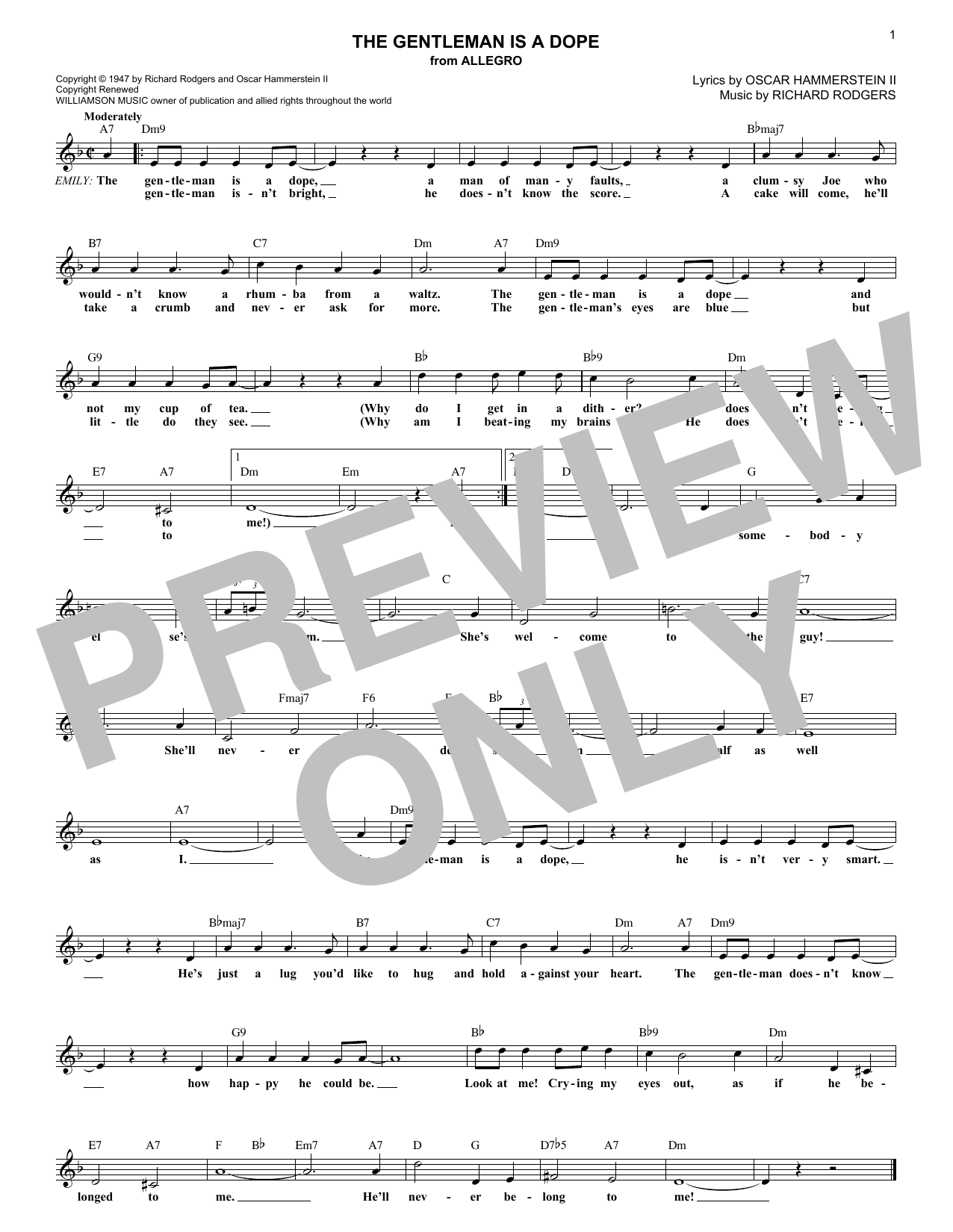 The Gentleman Is A Dope (Lead Sheet / Fake Book)