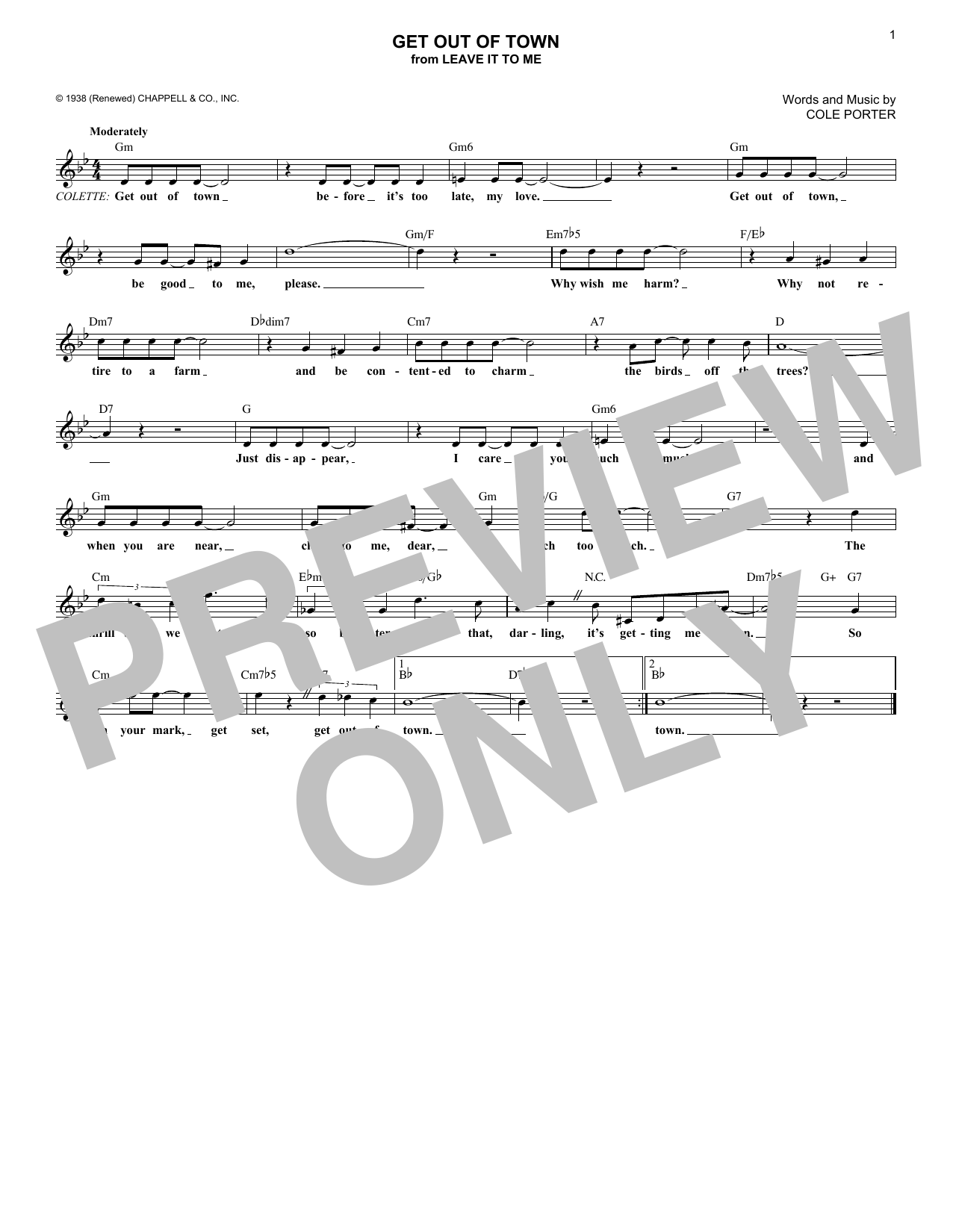 Get Out Of Town (Melody Line, Lyrics & Chords)