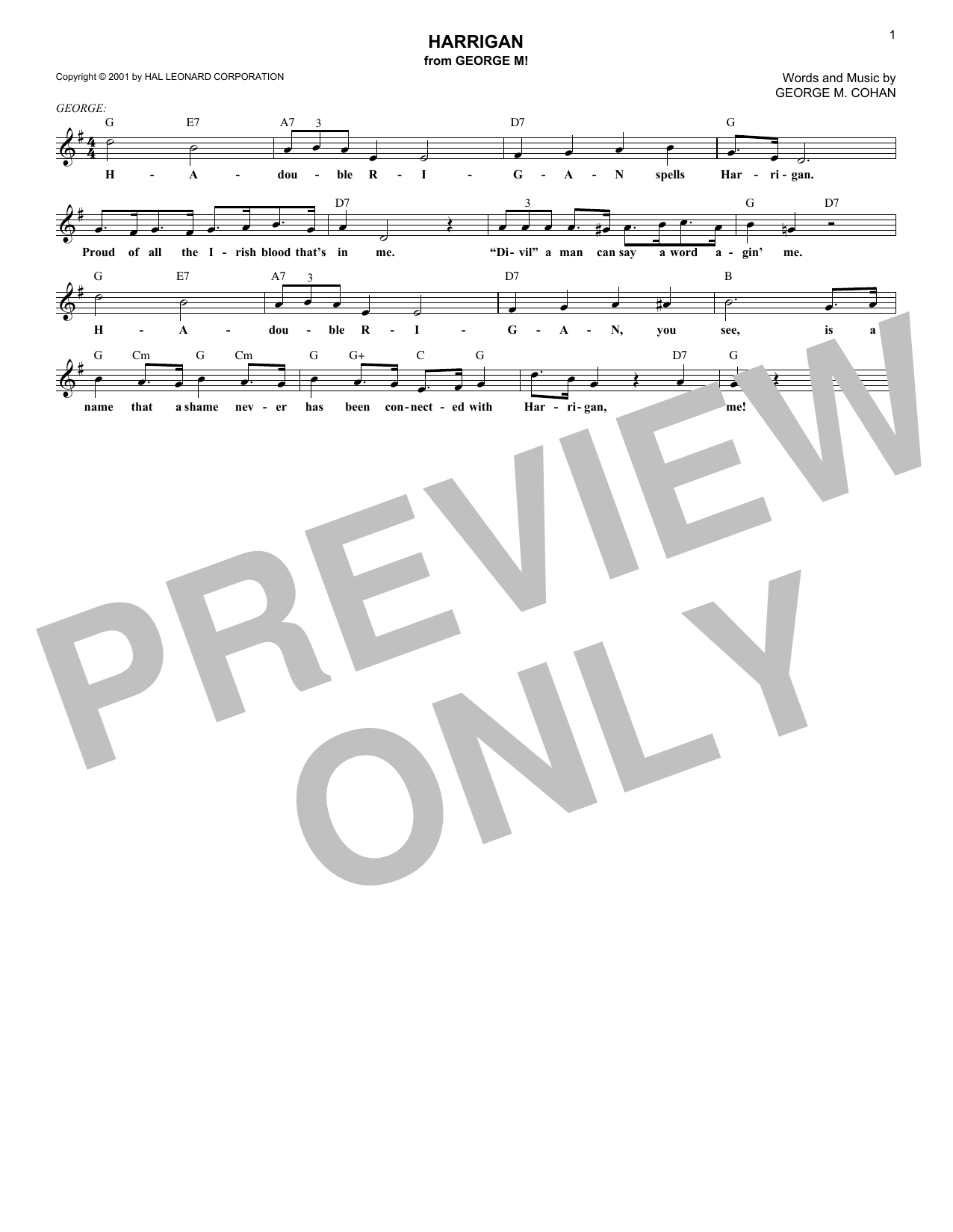 Harrigan (Lead Sheet / Fake Book)