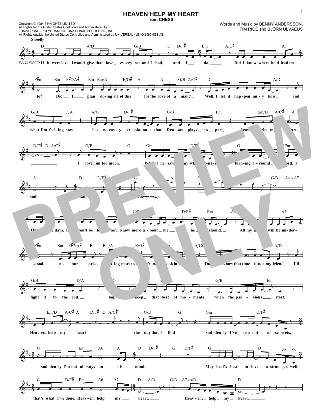 Heaven Help My Heart (from Chess) (Lead Sheet / Fake Book)