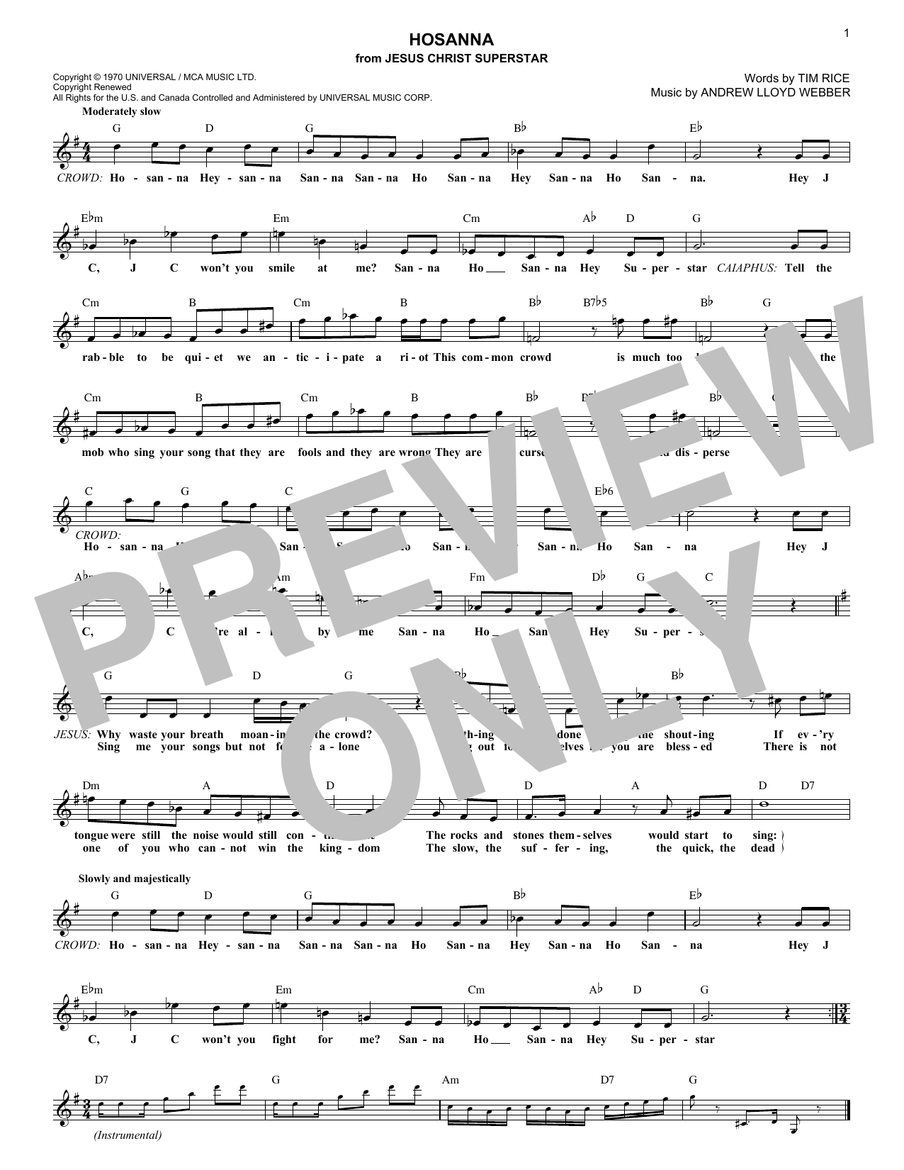 Hosanna (Lead Sheet / Fake Book)